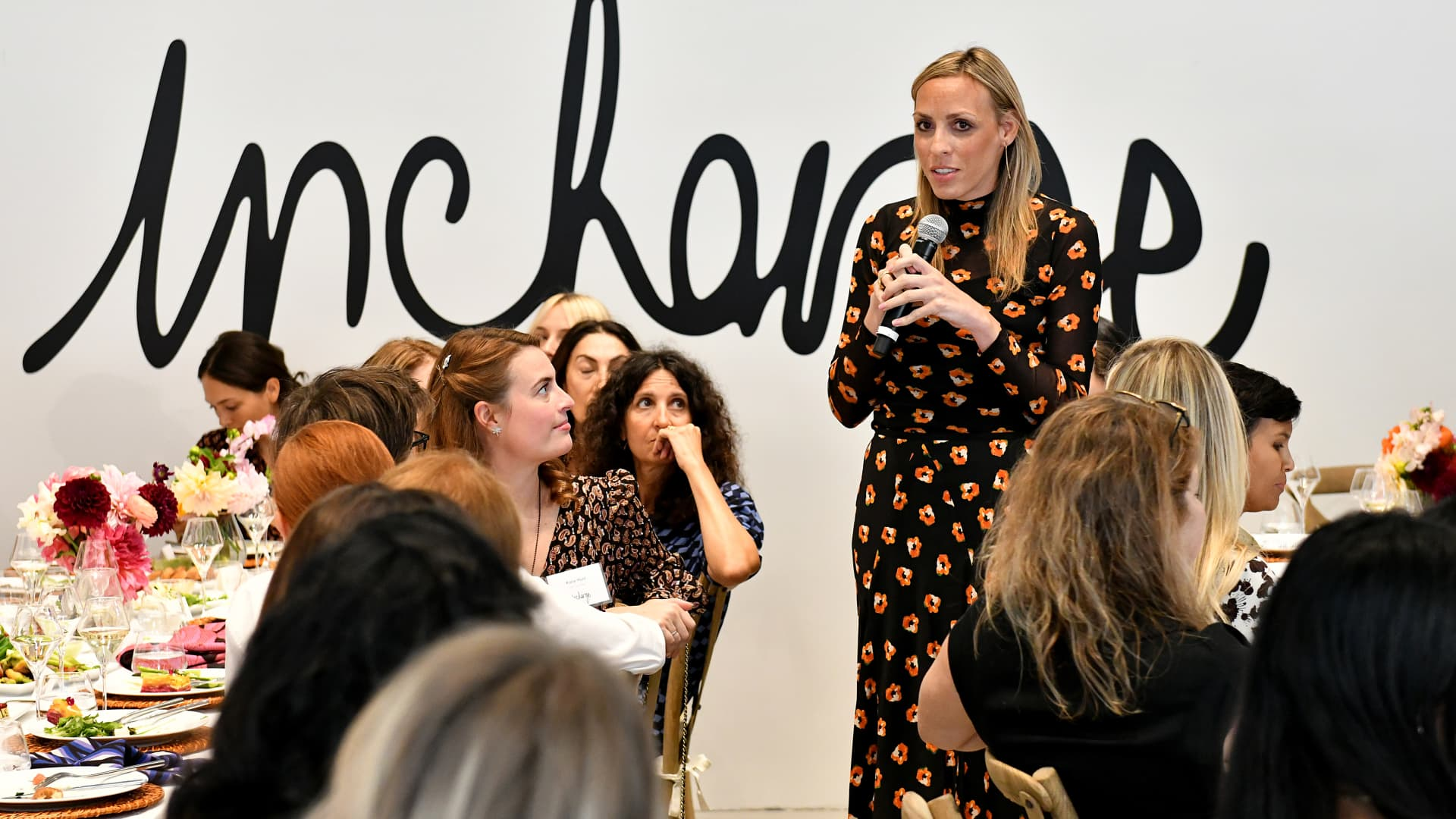 The Helm's Lindsey Taylor Wood speaks at a Sept. 5, 2019 In Charge Luncheon hosted by Diane von Furstenberg and LinkedIn in New York.