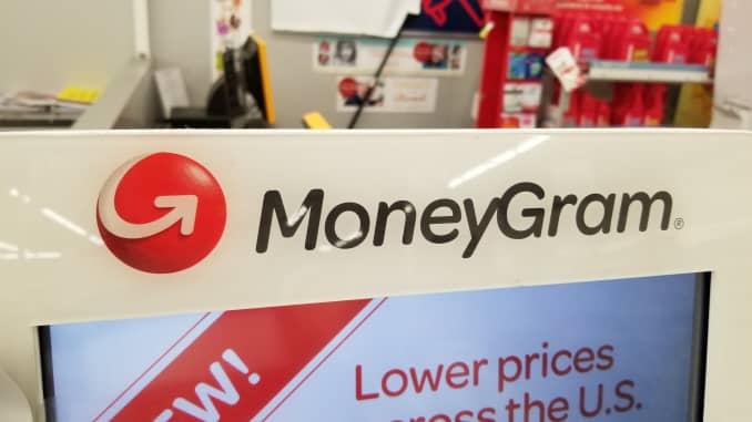 The logo of MoneyGram seen at a sore in San Ramon, California, on March 26, 2019.