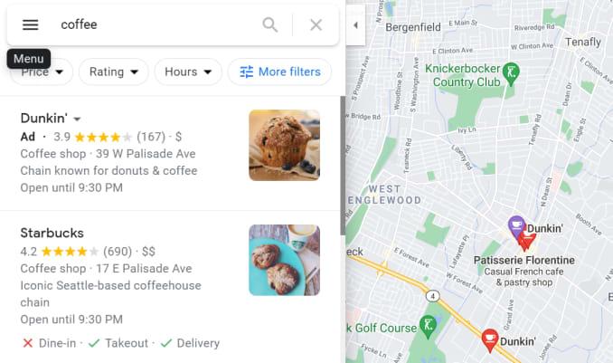 Google지도의 광고