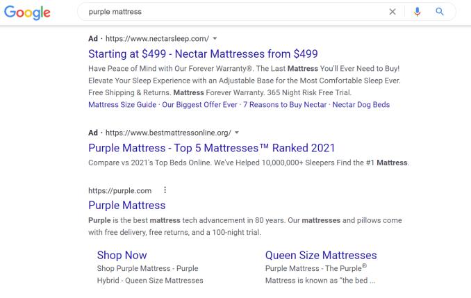 Google 검색의 매트리스 광고의 예입니다.