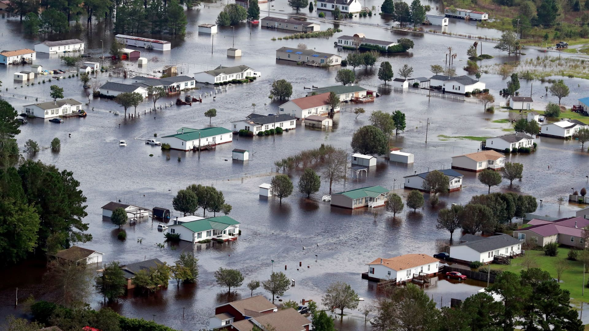 Houses sit in floodwater caused by Hurricane Florence, in this aerial picture, on the outskirts of Lumberton, North Carolina, September 17, 2018.