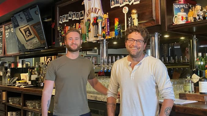 Steven Williams (L) and Matt Glassman (R) recently reopened The Greyhound Bar & Grill in Los Angeles, after being closed for over a year.