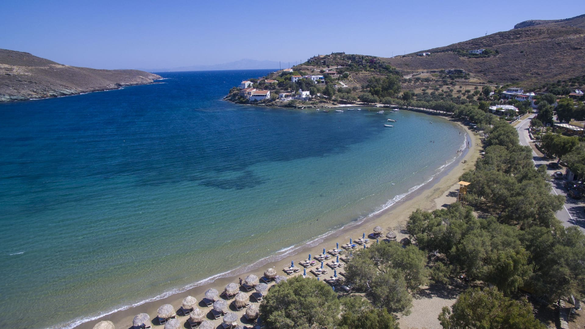 Aerial images of Kea island also known as Gia or Tzia, Zea, and, in antiquity, Keos, is a Greek island in the Cyclades archipelago in the Aegean Sea. Kea is part of the Kea-Kythnos regional unit.
