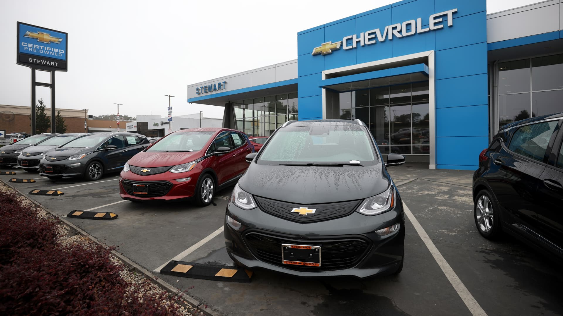 Brand new Chevrolet cars are displayed on the sales lot at Stewart Chevrolet on May 14, 2021 in Colma, California.