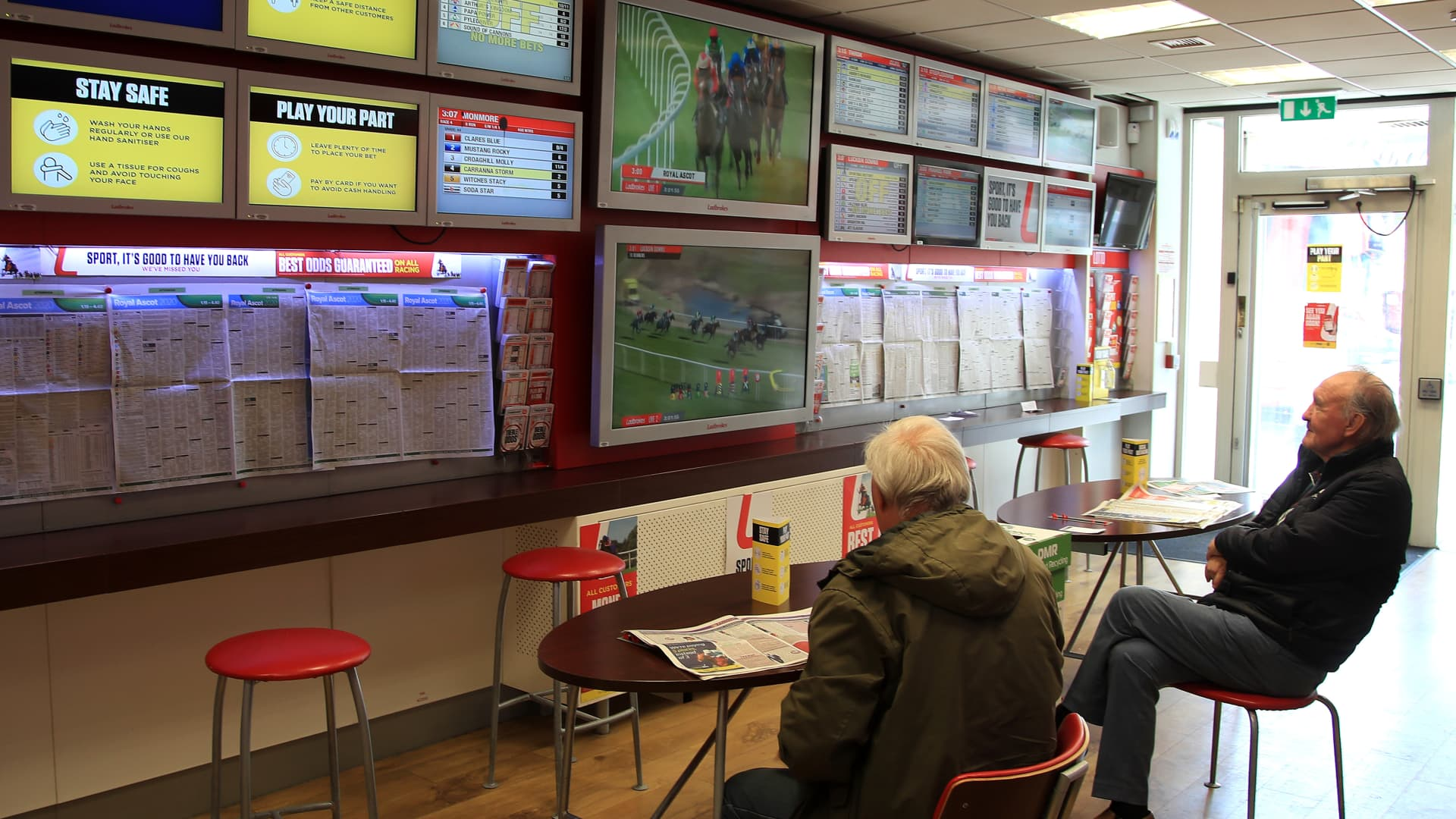 LONDON, ENGLAND - JUNE 16: A general view inside the Ladbrokes betting shop on Putney High Street as betting shops reopen ahead of Royal Ascot on June 16, 2020