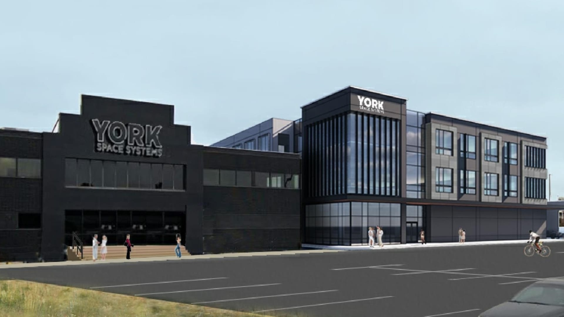 The company's existing building on the left, with a rendering of the planned expansion on the right.