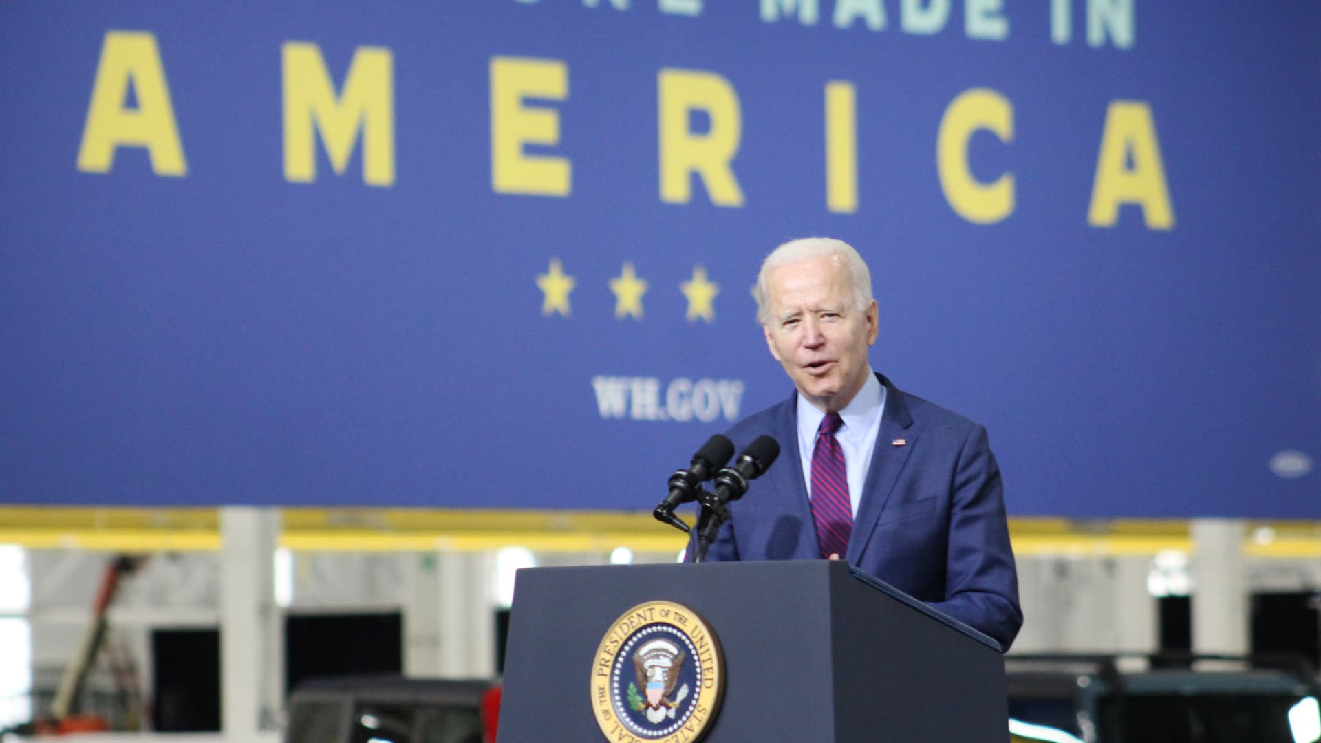 President Joe Biden speaks during a tour of the Ford Rouge Electric Vehicle Center, in Dearborn, Michigan on May 18, 2021.