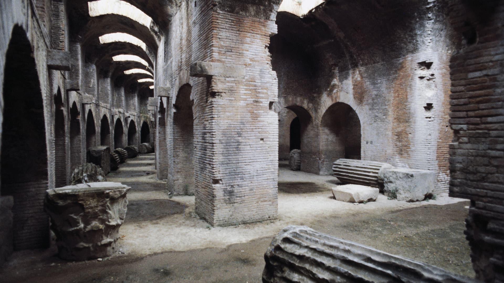 The underground passageways of the Flavian Amphitheatre in Pozzuoli, Italy.