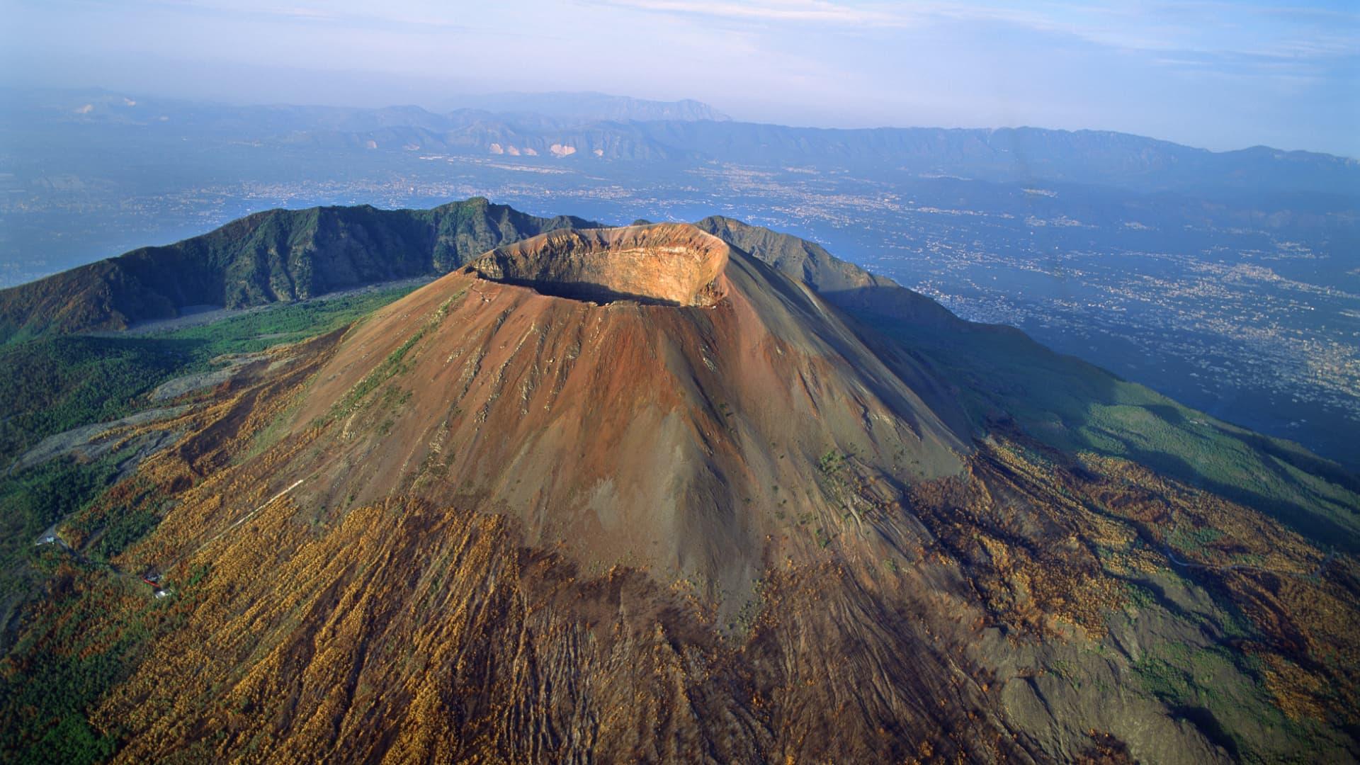 The summit caldera of Mount Vesuvius, near the Bay of Naples.