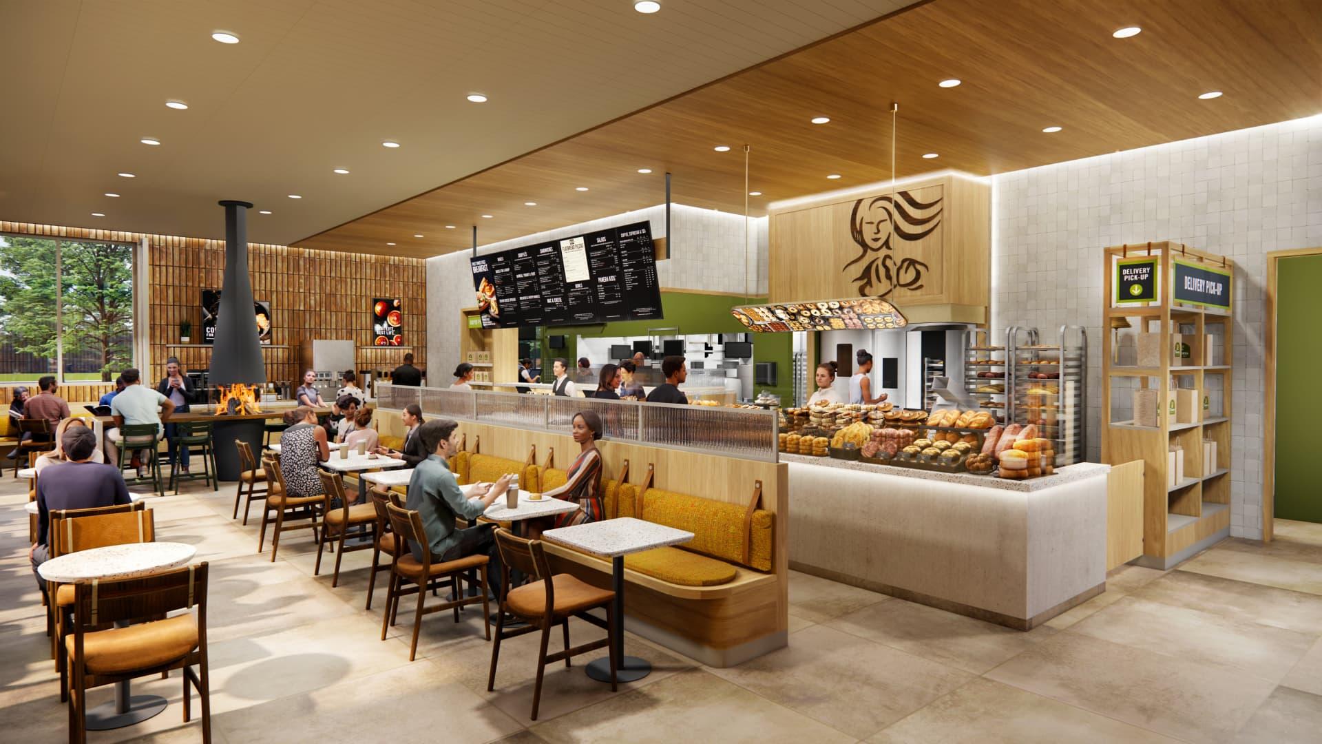 Rendering of the interior of Panera Bread's latest design