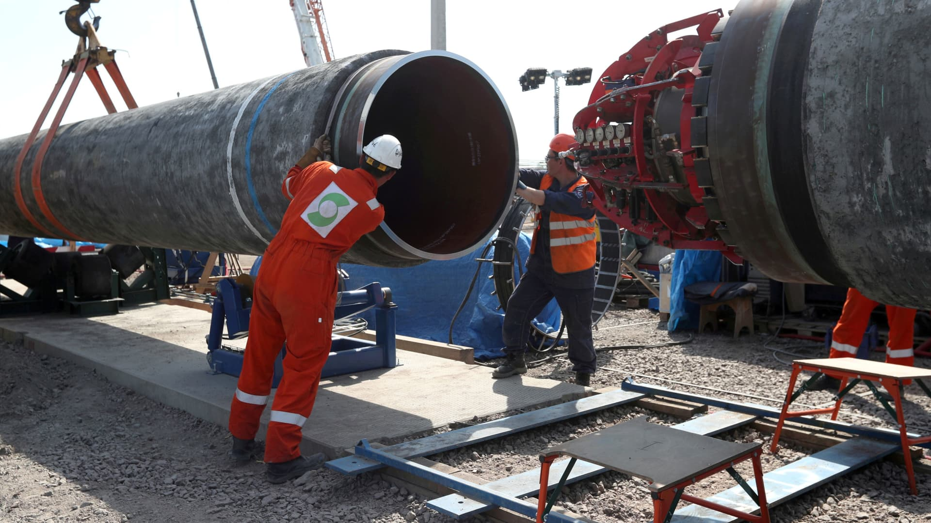 Workers are seen at the construction site of the Nord Stream 2 gas pipeline, near the town of Kingisepp, Leningrad region, Russia, June 5, 2019.