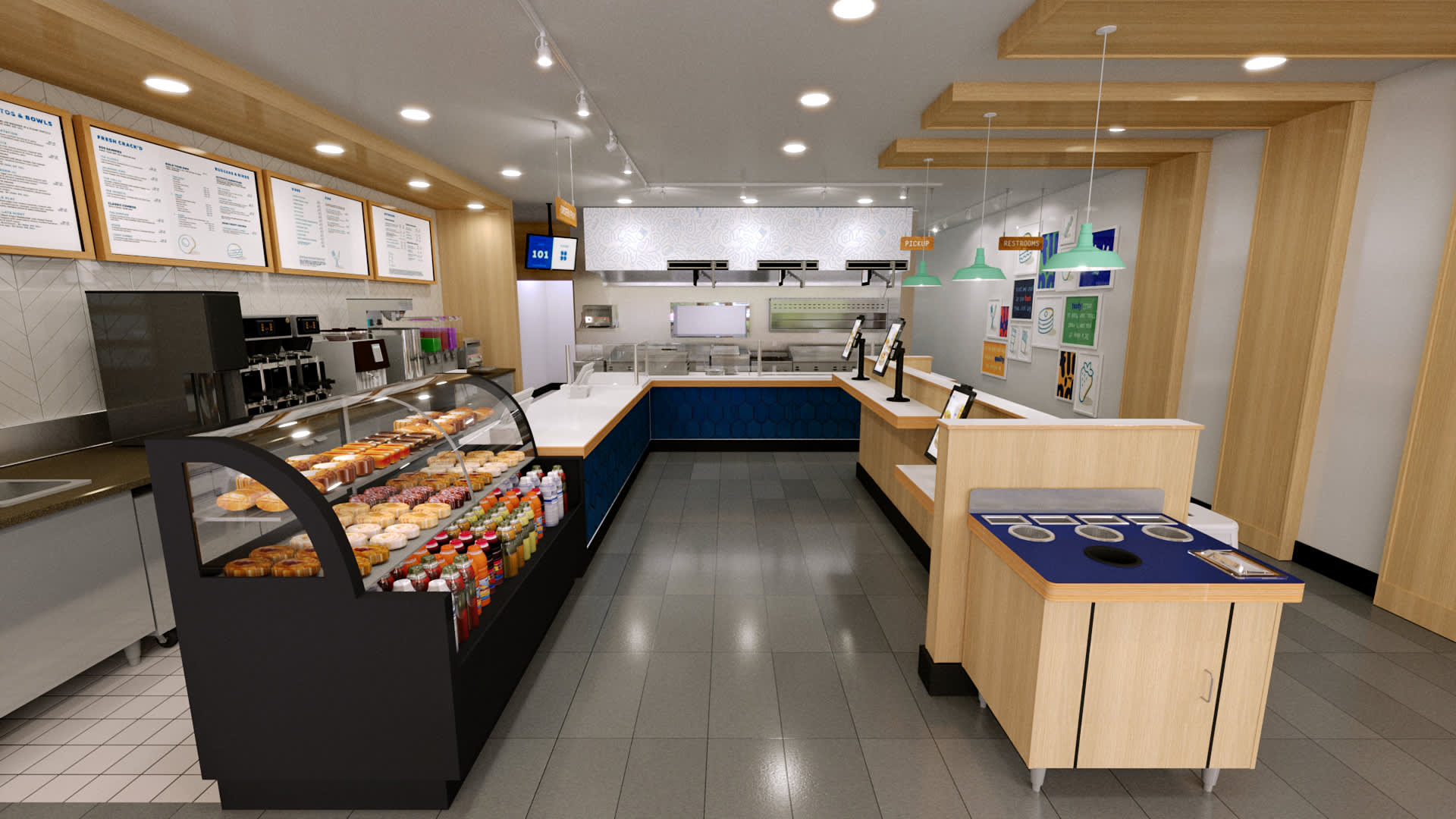 A rendering of the interior of a Flip'd by IHOP location