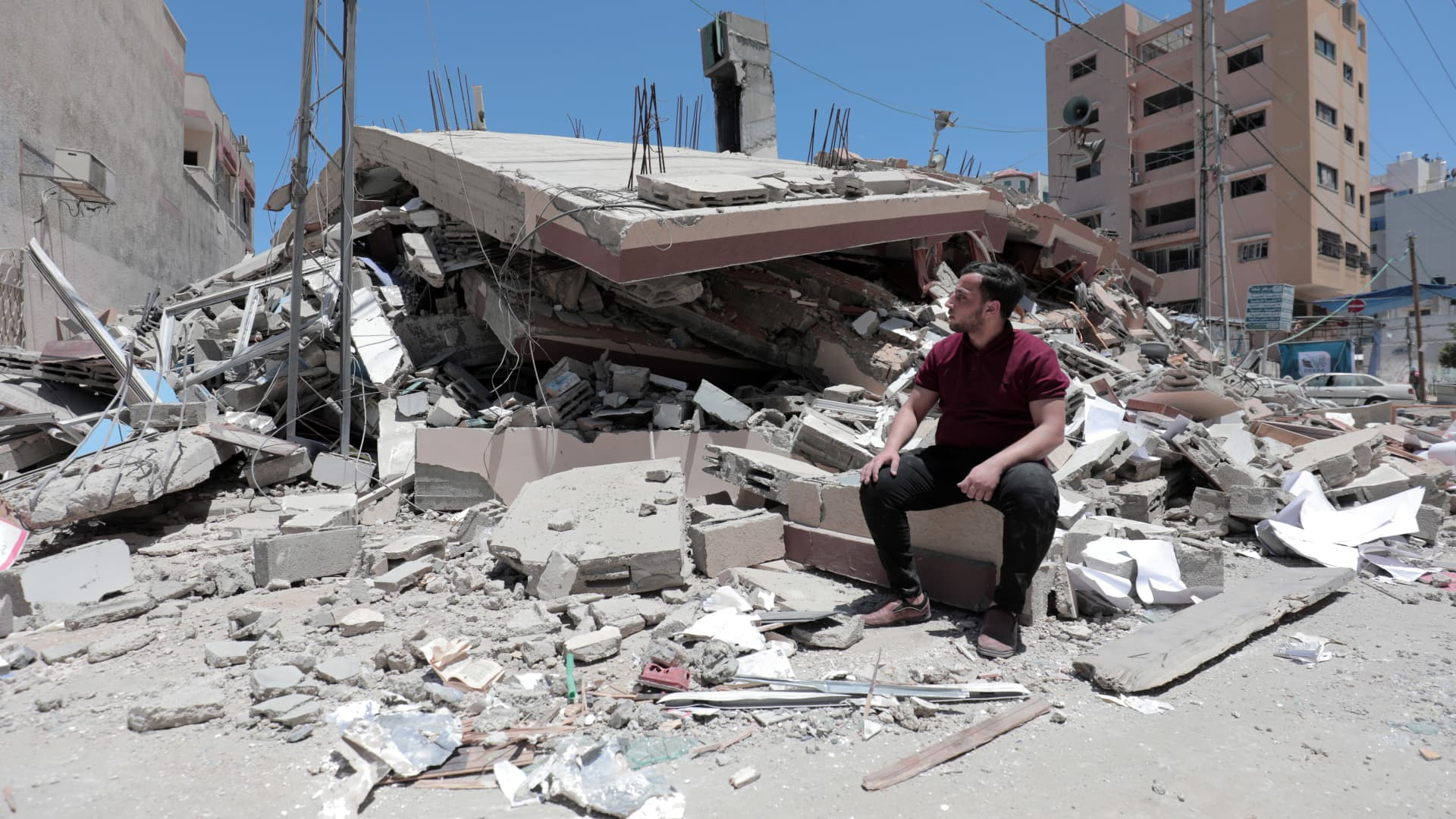 A demolished 6-storey building in Al-Rimal neighborhood contains libraries, youth centers, training for university students, and a mosque that was bombed by Israeli aircraft in raids in Gaza City, Gaza, on May 18, 2021.