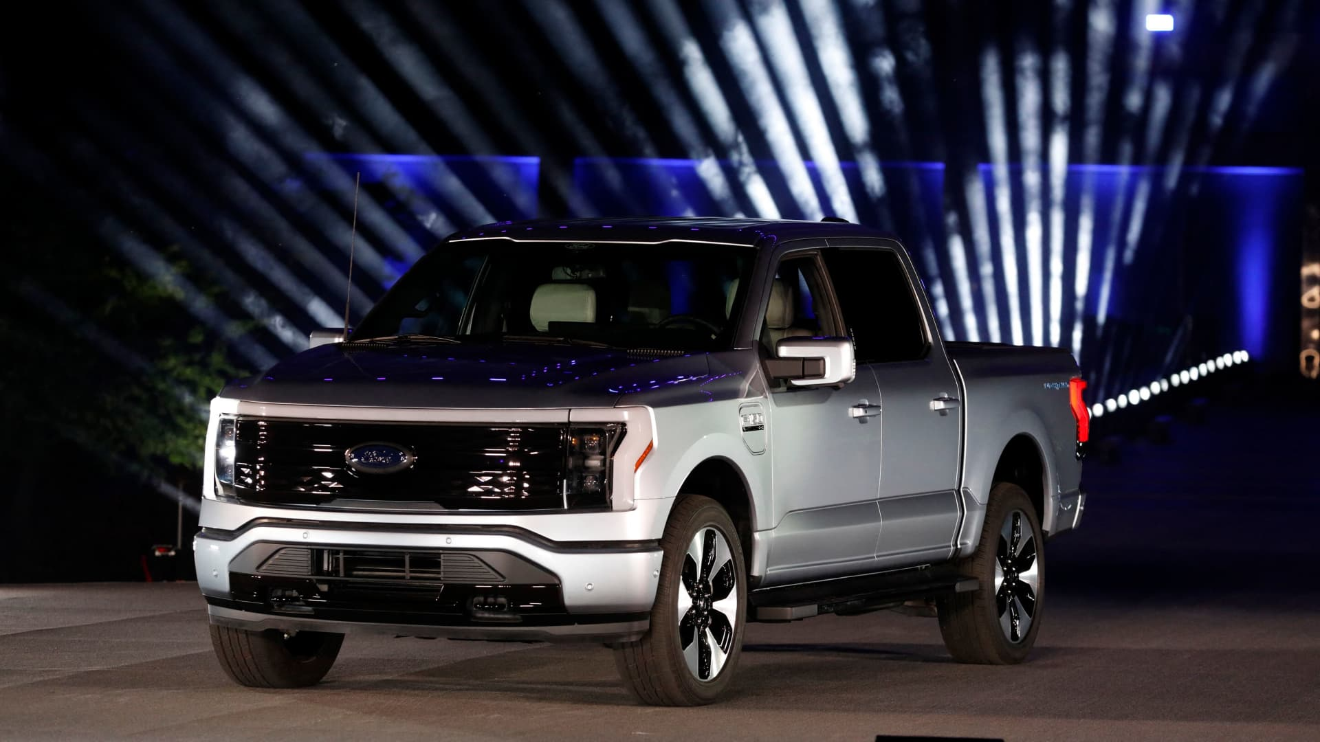 Ford Motor Company unveils their new electric F-150 Lightning outside of their headquarters in Dearborn, Michigan on May 19, 2021.