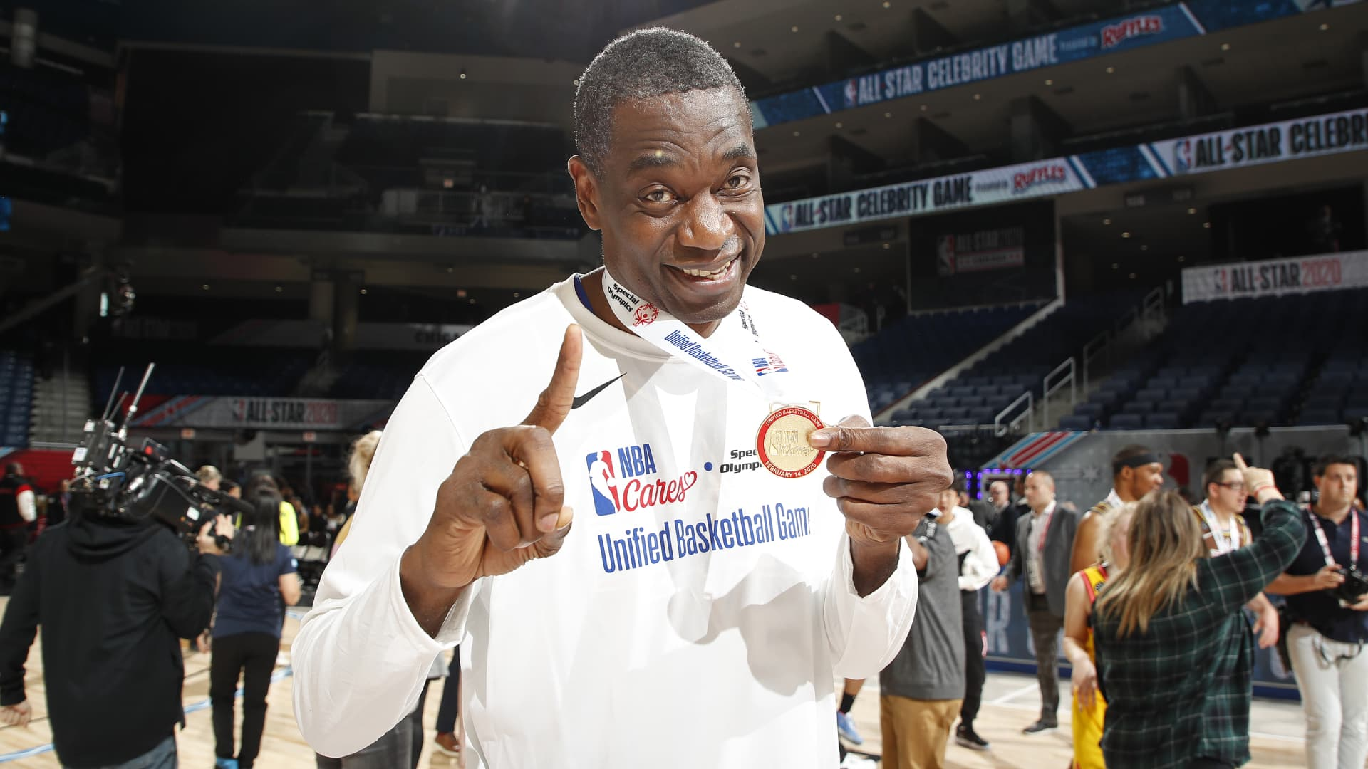 Dikembe Mutombo #55 of the Away Team poses for a photo during NBA Cares Special Olympics Unified Game as part of 2020 NBA All-Star Weekend on February 14, 2020 at Wintrust Arena in Chicago, Illinois.
