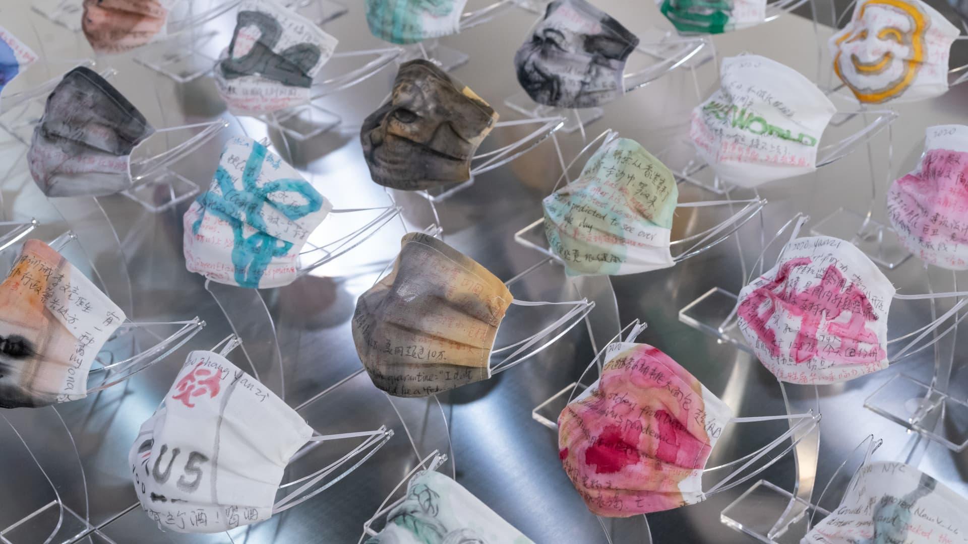 Face masks emerged as new canvases at Art Basel Hong Kong 2021.
