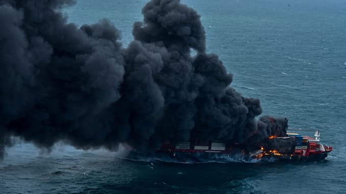 Smoke rises from a fire onboard the MV X-Press Pearl container ship off the Colombo Harbor, in Sri Lanka May 25, 2021.