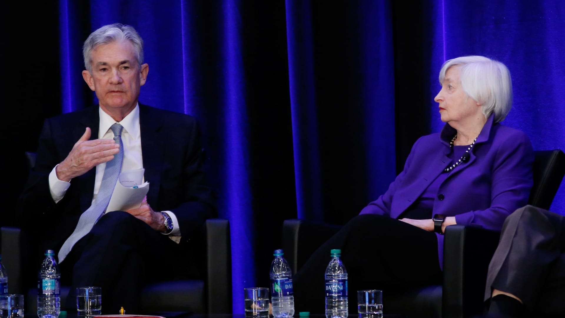 U.S. Federal Reserve Chairman Jerome Powell, former Fed chairs Janet Yellen speak during a panel discussion at the American Economic Association/Allied Social Science Association (ASSA) 2019 meeting in Atlanta, Georgia, U.S., January 4, 2019.