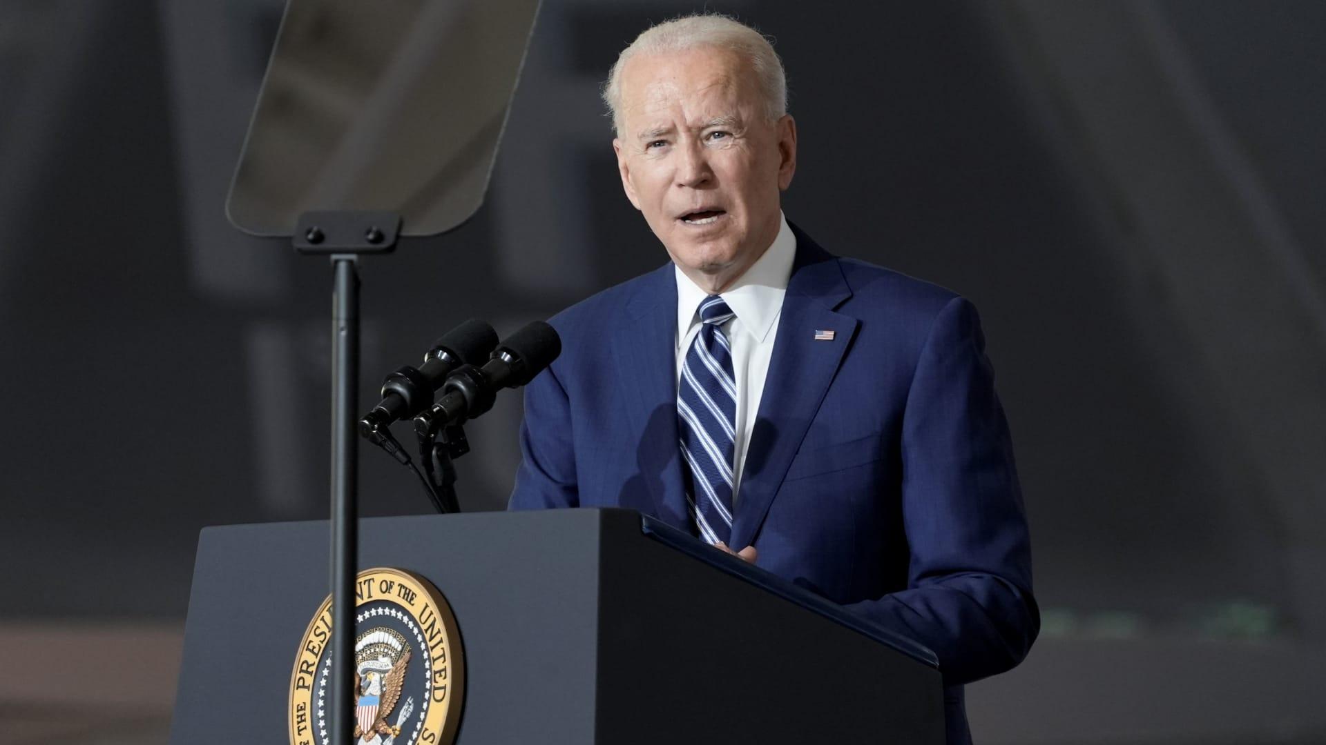 U.S. President Joe Biden speaks as he visits Joint Base Langley-Eustis with first lady Jill Biden, in Hampton, Virginia, May 28, 2021.