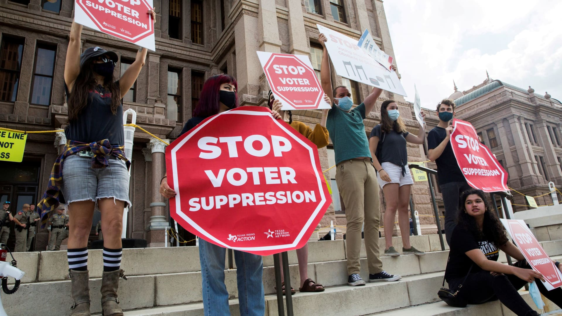 Voting rights activists gather during a protest against Texas legislators who are advancing new voting restrictions in Austin, Texas, U.S., May 8, 2021.