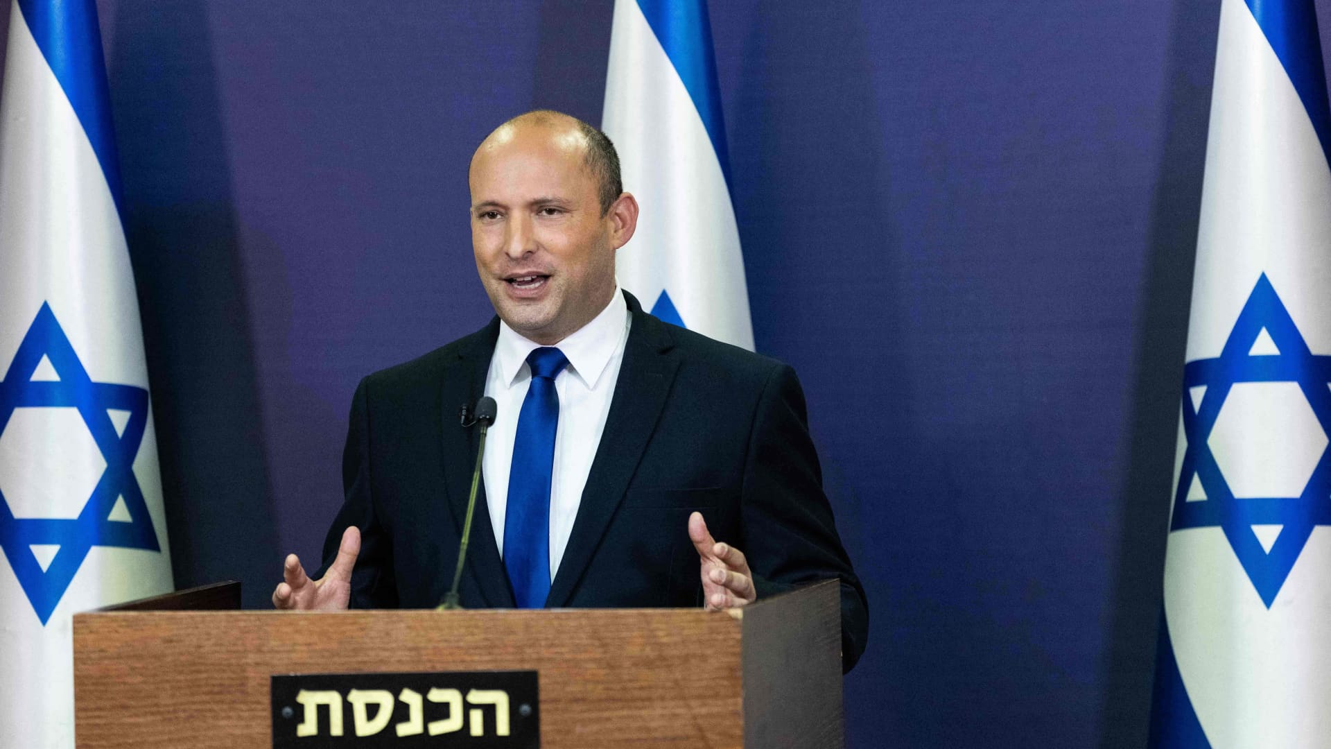 Leader of the Israeli Yemina party, Naftali Bennett, delivers a political statement at the Knesset, the Israeli Parliament, in Jerusalem, on May 30, 2021.