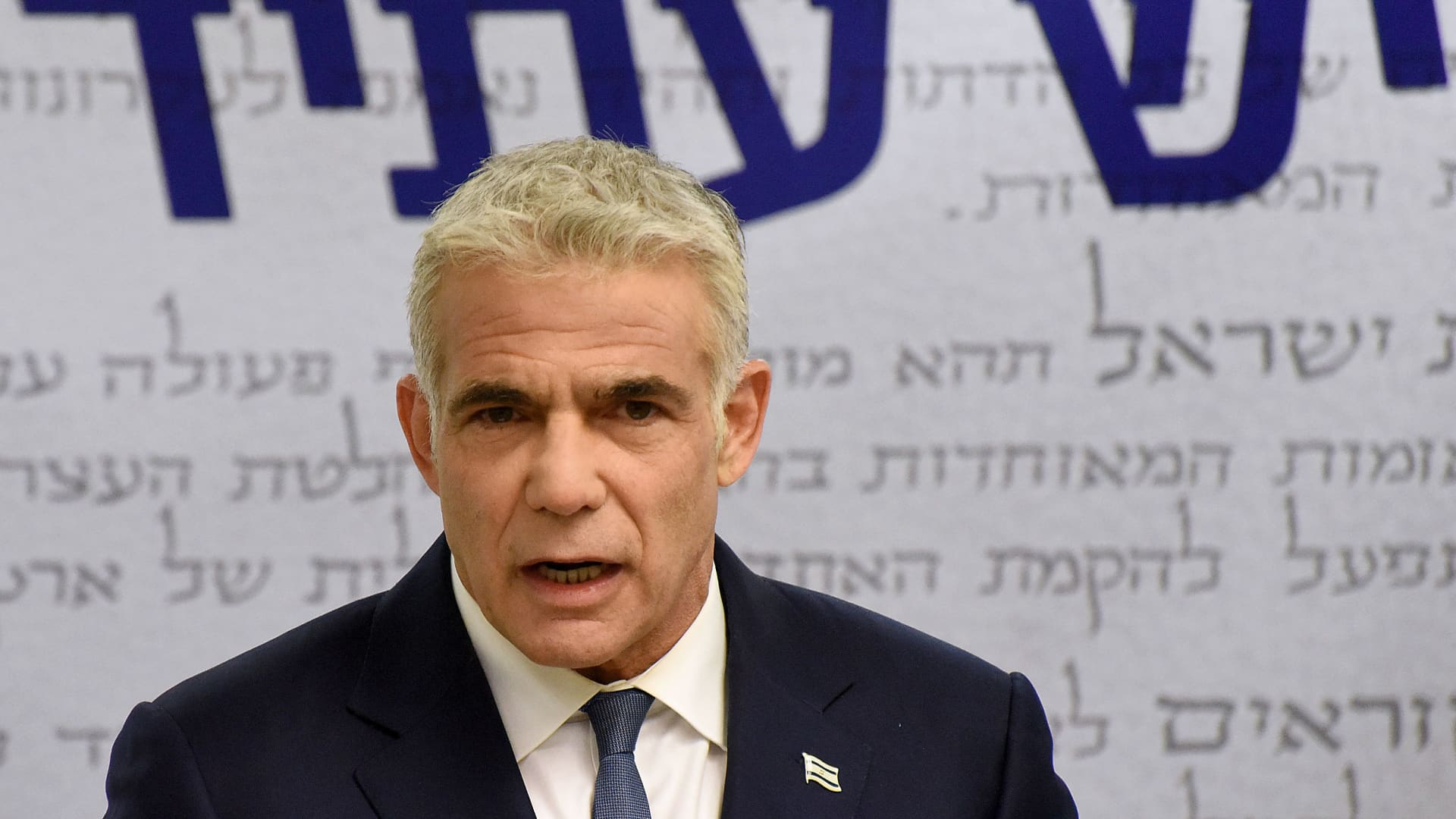 Israel's centrist opposition leader Yair Lapid delivers a statement to the press at the Knesset (Israeli parliament) in Jerusalem on May 31, 2021.