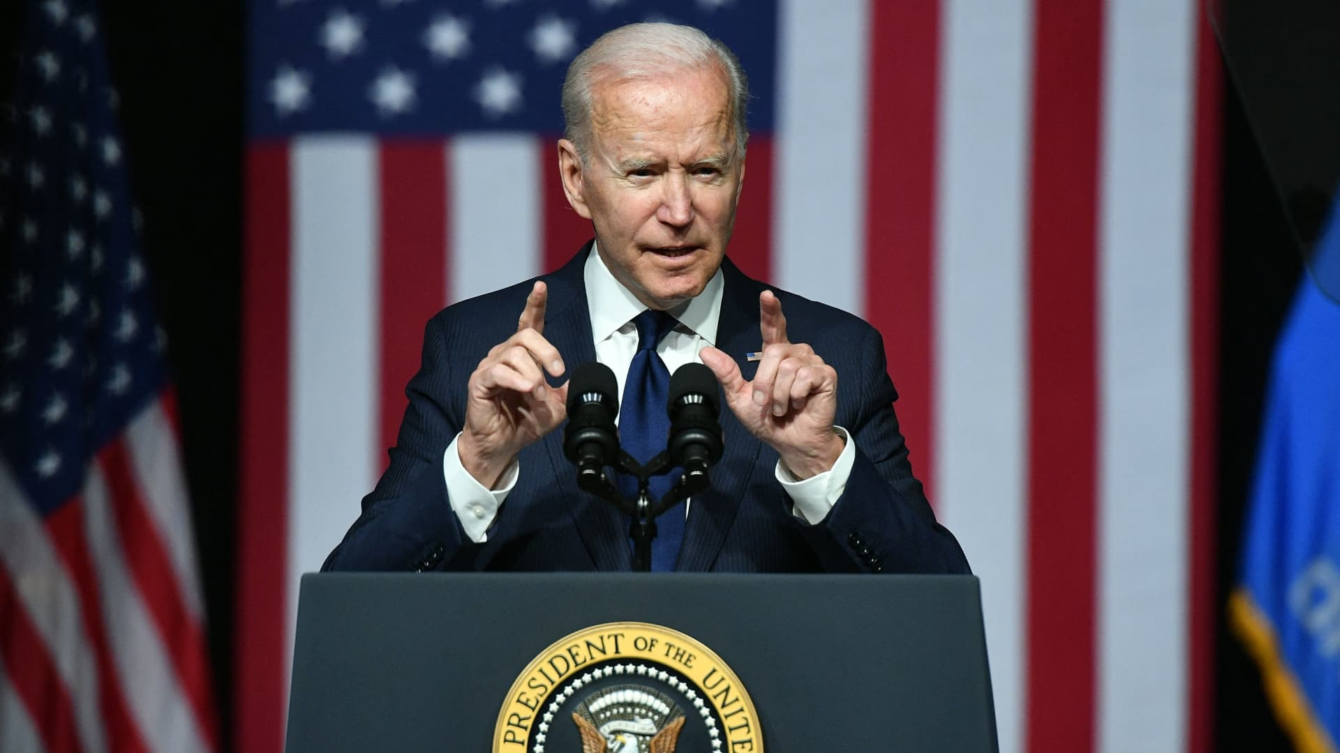 US President Joe Biden speaks during a commemoration of the 100th anniversary of the Tulsa Race Massacre at the Greenwood Cultural Center in Tulsa, Oklahoma, on June 1, 2021.