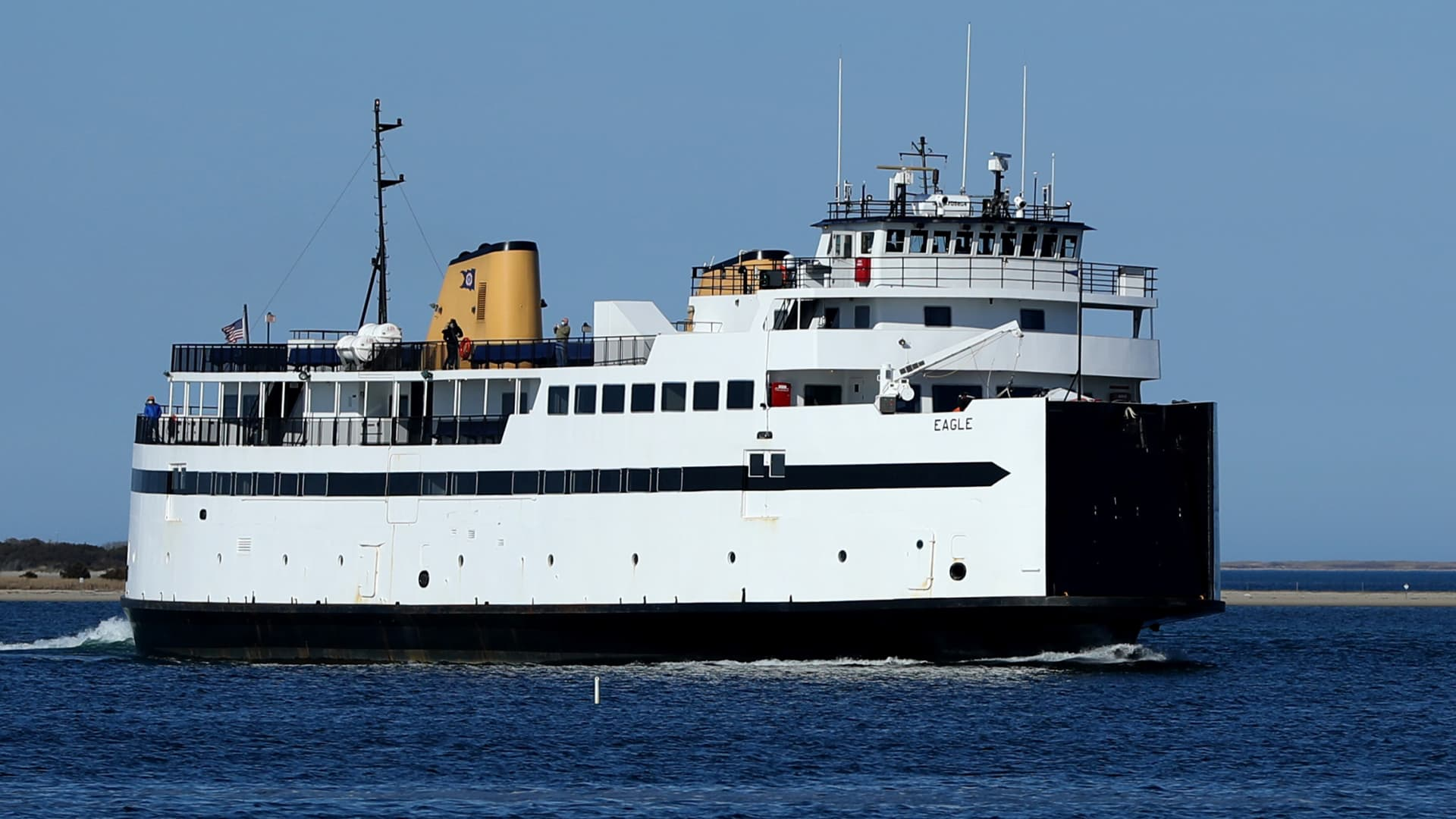 A view of a Steamship Authority ferry approaches the Nantucket Terminal on April 25, 2020 in Nantucket, Massachusetts.
