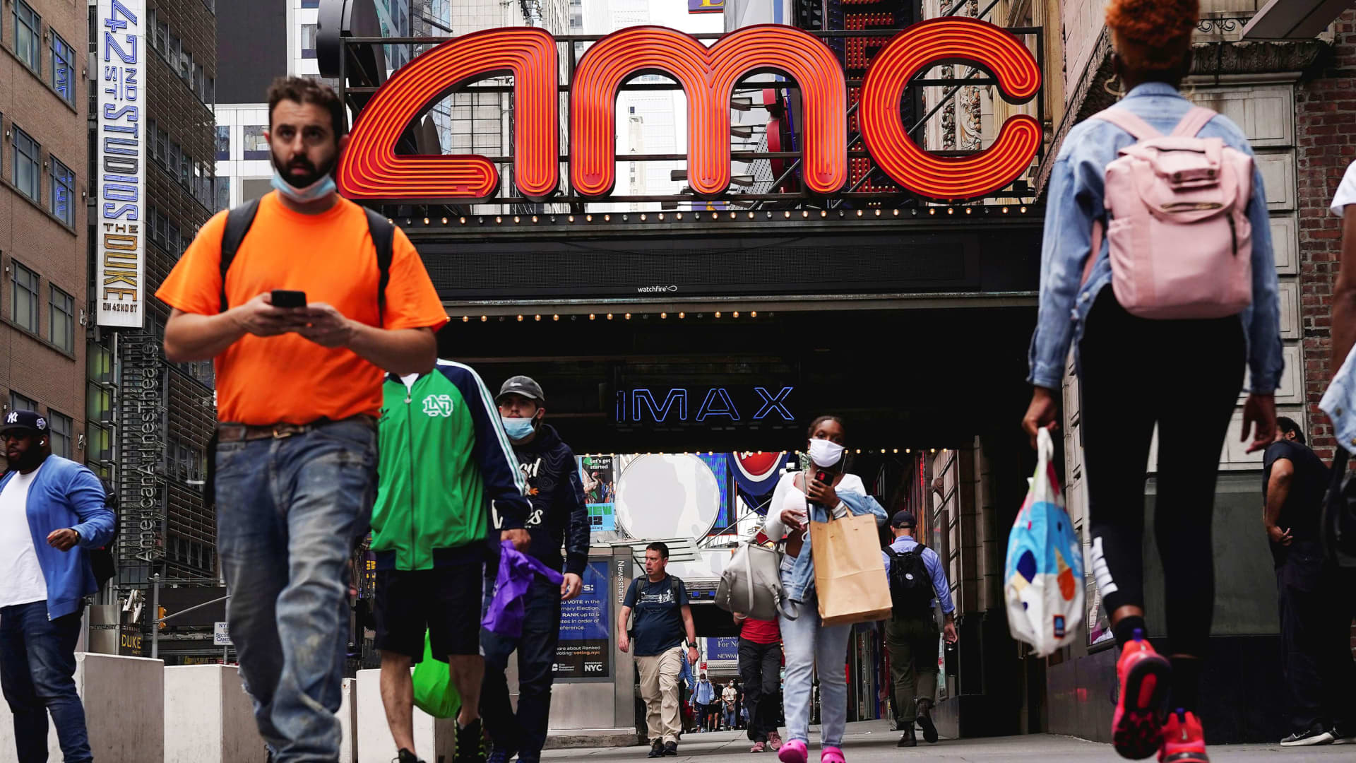 An AMC theatre is pictured in Times Square in the Manhattan borough of New York City, New York, June 2, 2021.
