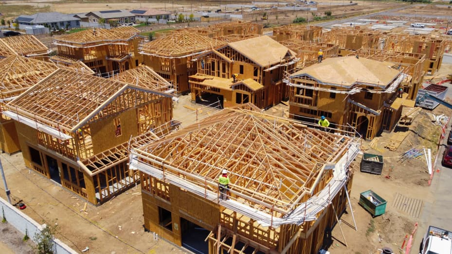 Residential single family homes construction by KB Home are shown under construction in the community of Valley Center, California, U.S. June 3, 2021.