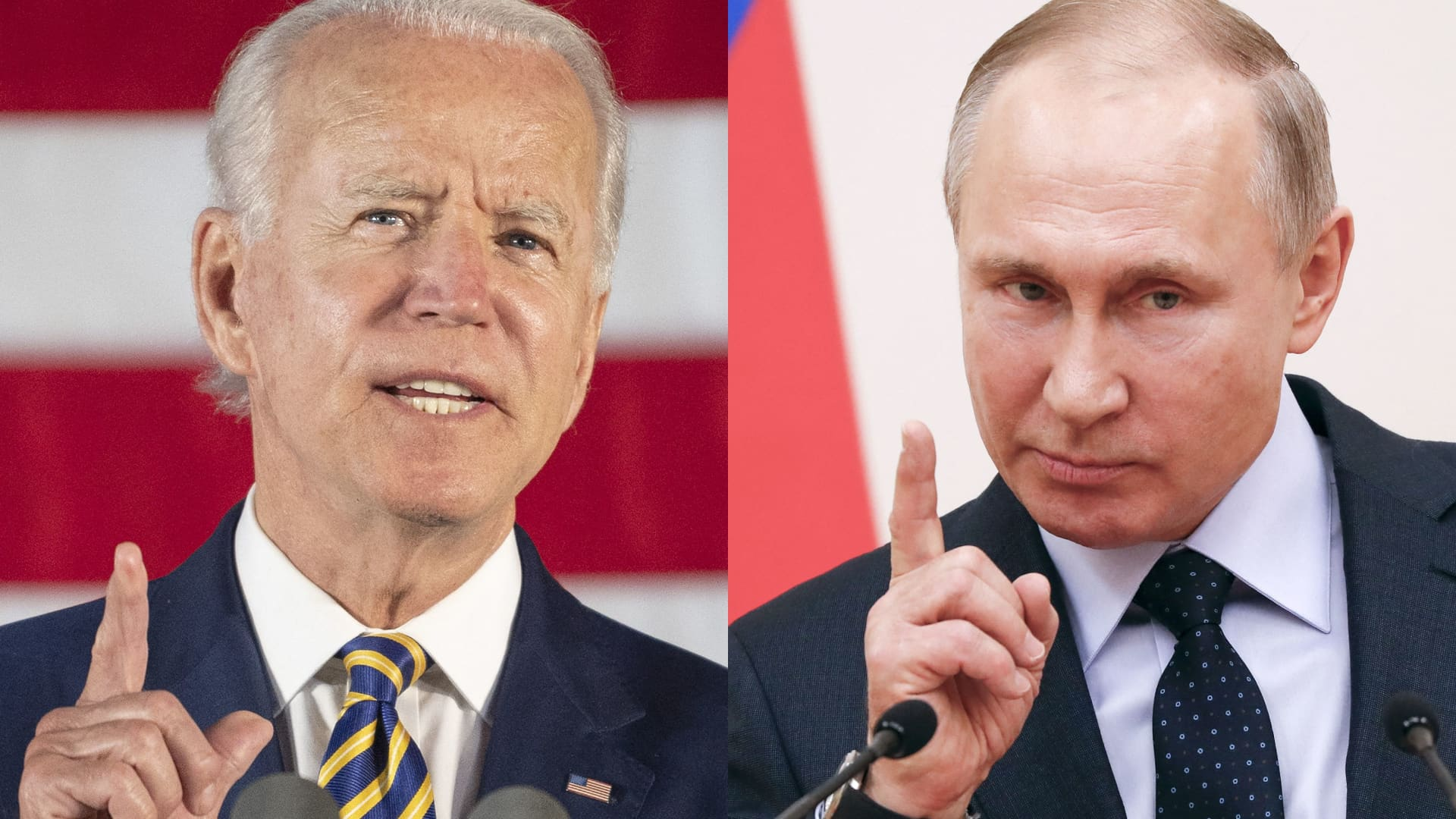 This combination of files pictures created on June 7, 2021 shows then Democratic presidential candidate Joe Biden speaking about reopening the country during a speech in Darby, Pennsylvania, on June 17, 2020 and Russian President Vladimir Putin delivering a speech during a meeting with Russian athletes and team members, who will take part in the upcoming 2018 Pyeongchang Winter Olympic Games, at the Novo-Ogaryovo state residence outside Moscow on January 31, 2018.