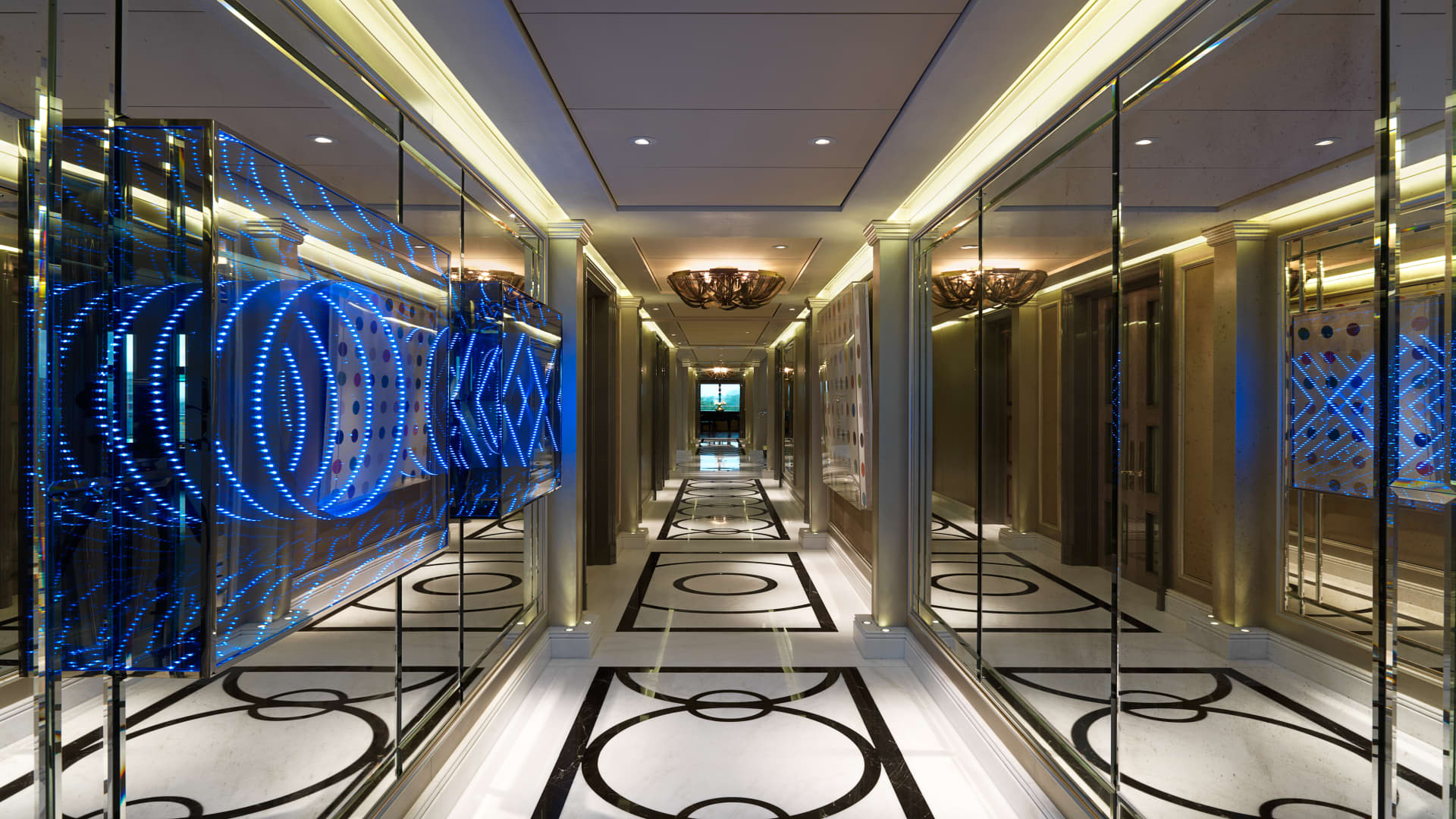 A corridor inside the penthouse at One Hyde Park.