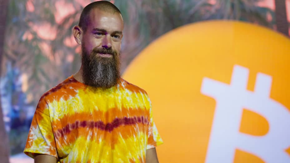 Jack Dorsey, co-founder and chief executive officer of Twitter Inc. and Square Inc., speaks during the Bitcoin 2021 conference in Miami, Florida, U.S., on Friday, June 4, 2021.