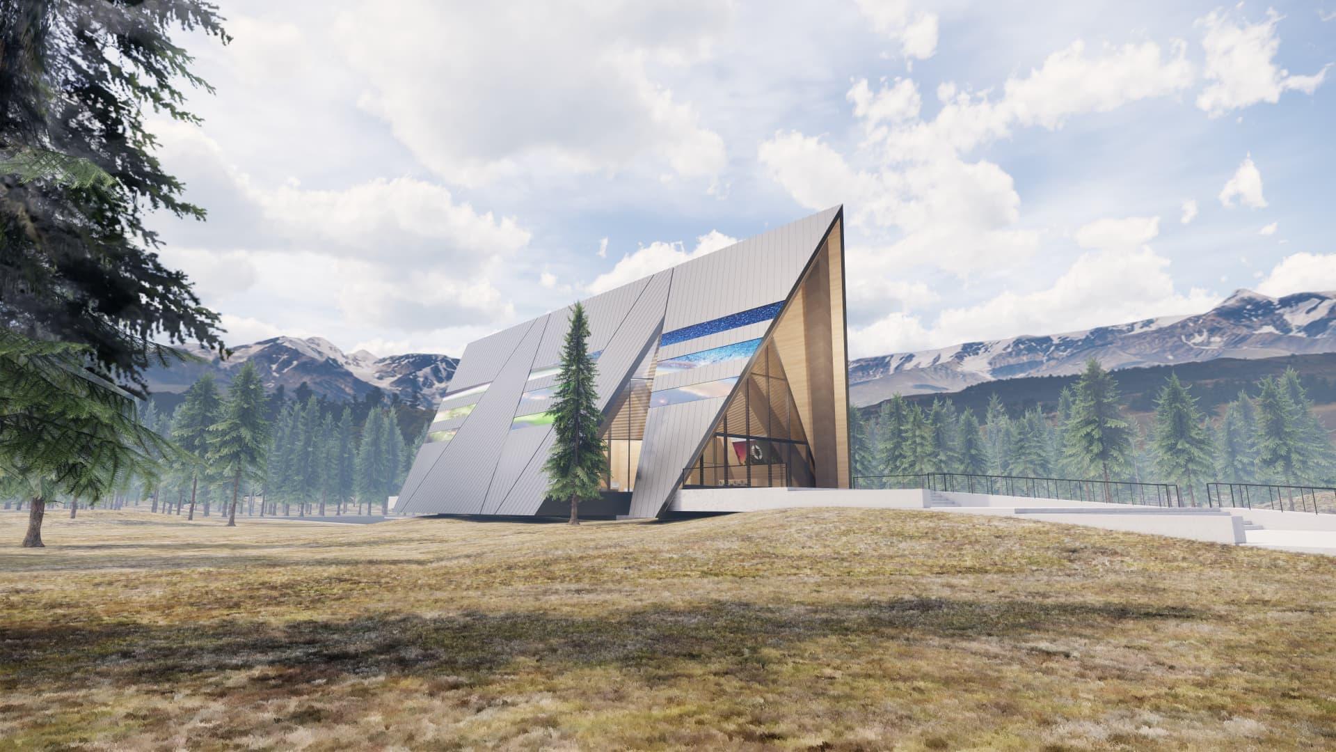 An artist rendering of Oklo's Aurora powerhouse