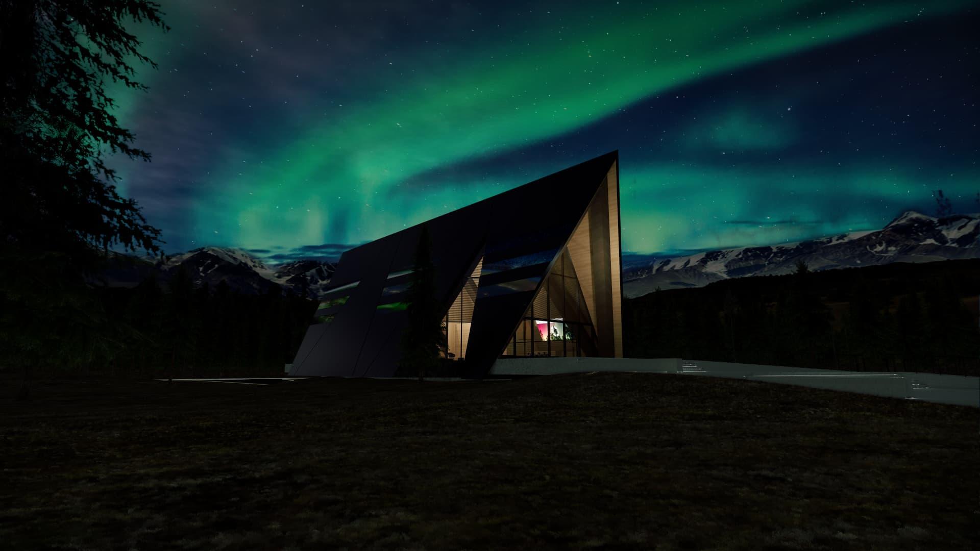 An artist rendering of Oklo's Aurora powerhouse at night.