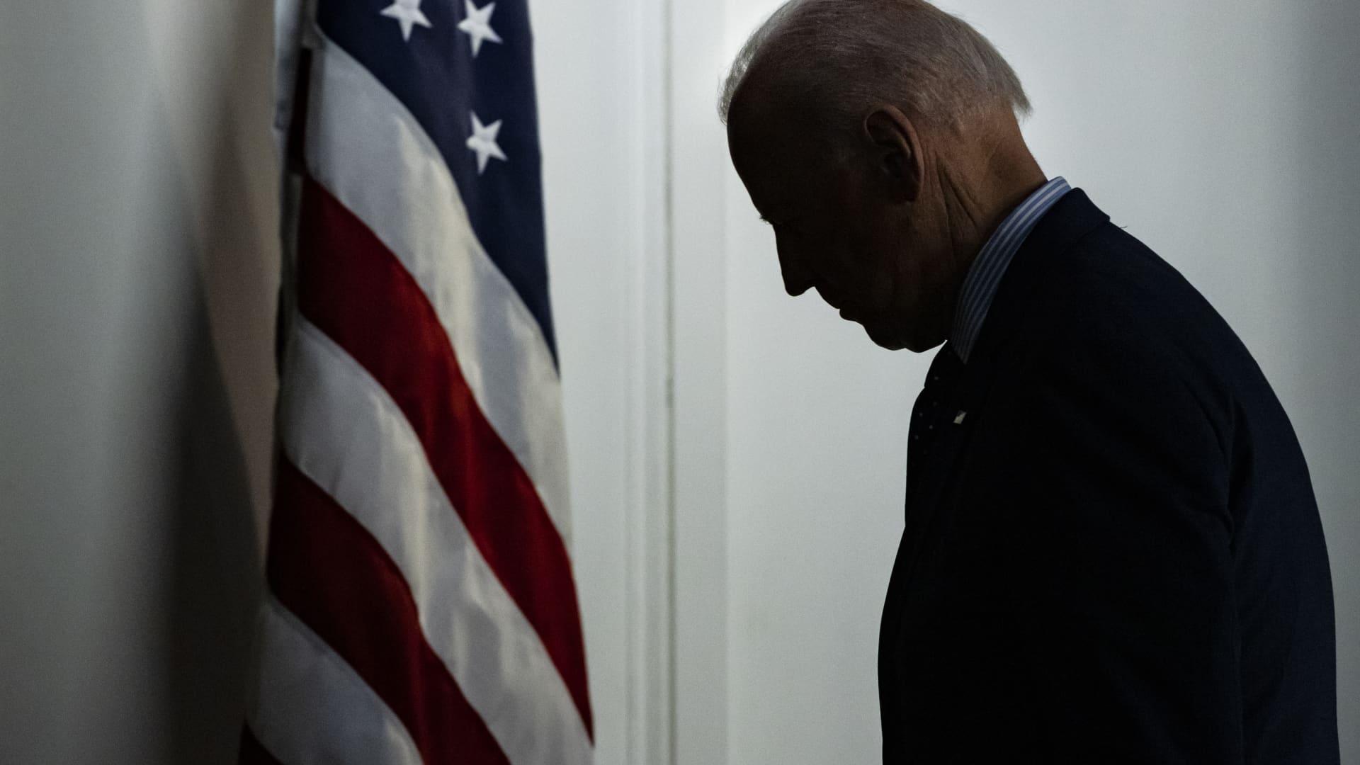 U.S. President Joe Biden departs after speaking in the Eisenhower Executive Office Building in Washington, D.C., on Wednesday, June 2, 2021.