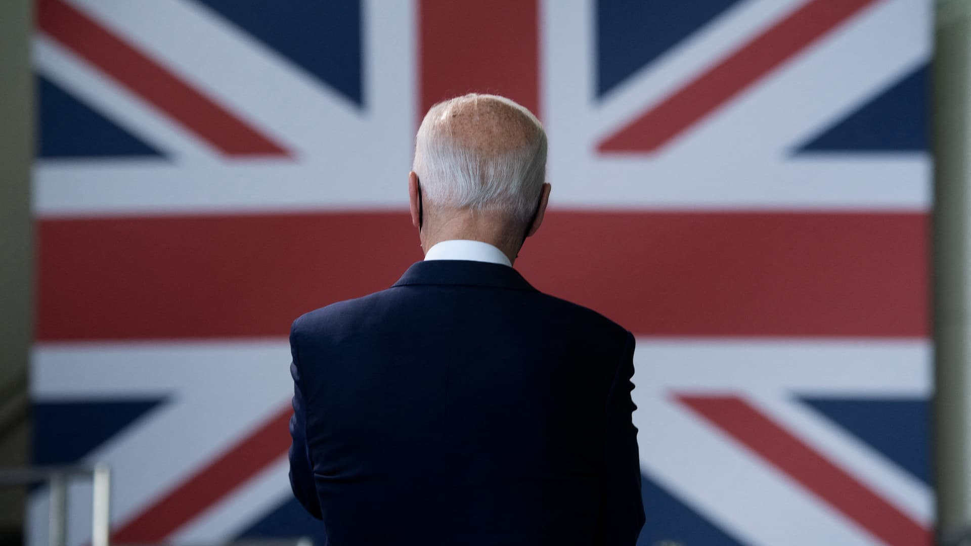 U.S. President Joe Biden prepares to address U.S. Air Force personnel and their families stationed at Royal Air Force Mildenhall, Suffolk, England on June 9, 2021, ahead of the three-day G-7 Summit.