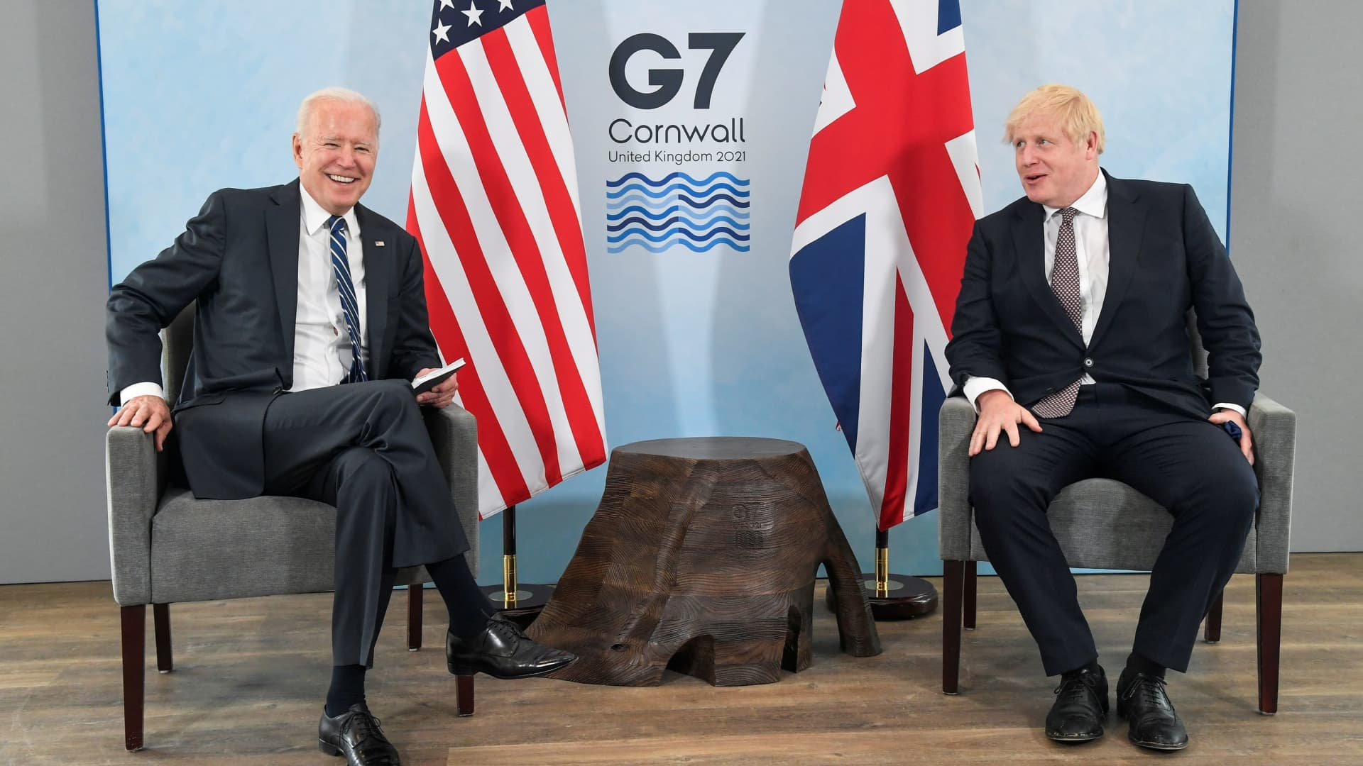 Britain's Prime Minister Boris Johnson speaks with U.S. President Joe Biden during their meeting, ahead of the G7 summit, at Carbis Bay, Cornwall, Britain June 10, 2021.