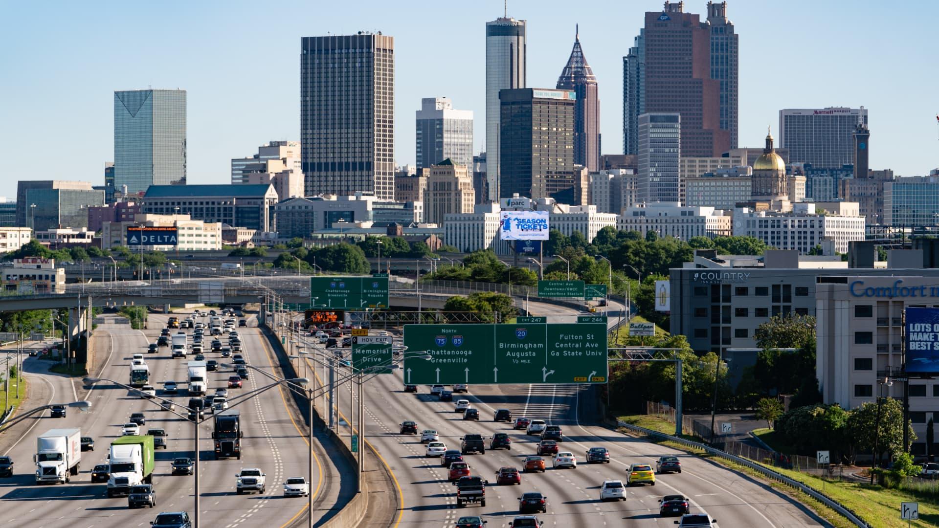 Traffic on Interstate 85 in Atlanta, Georgia, U.S., on Thursday, May 13, 2021.