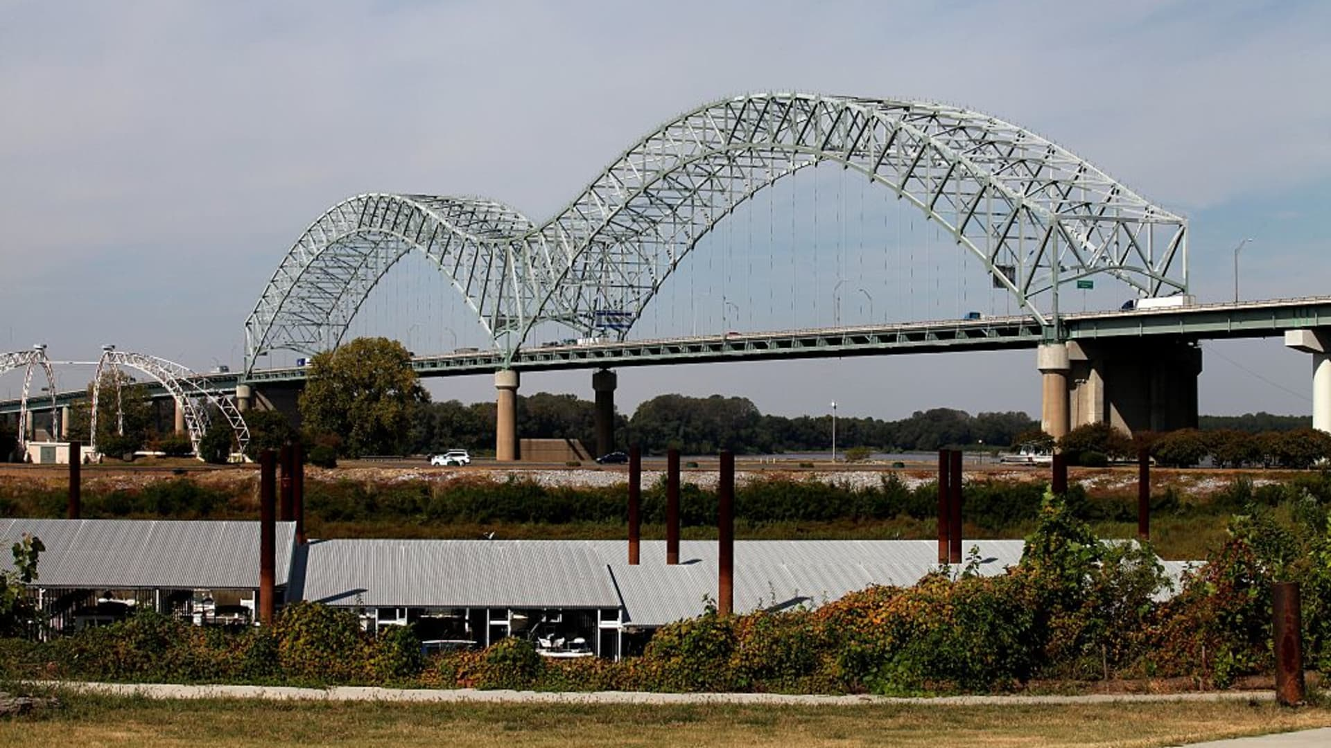 Hernando De Soto bridge as photographed from Tom Lee Park in Memphis, Tennessee.