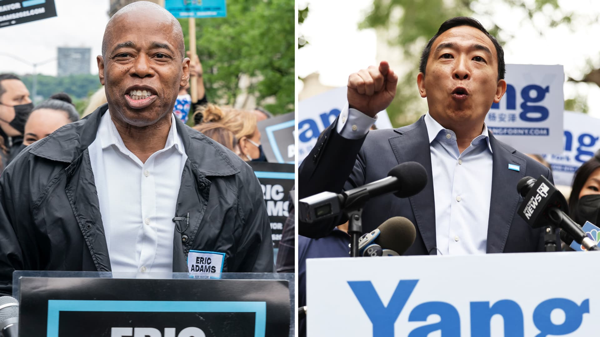 Mayoral candidates Eric Adams (L) and Andrew Yang