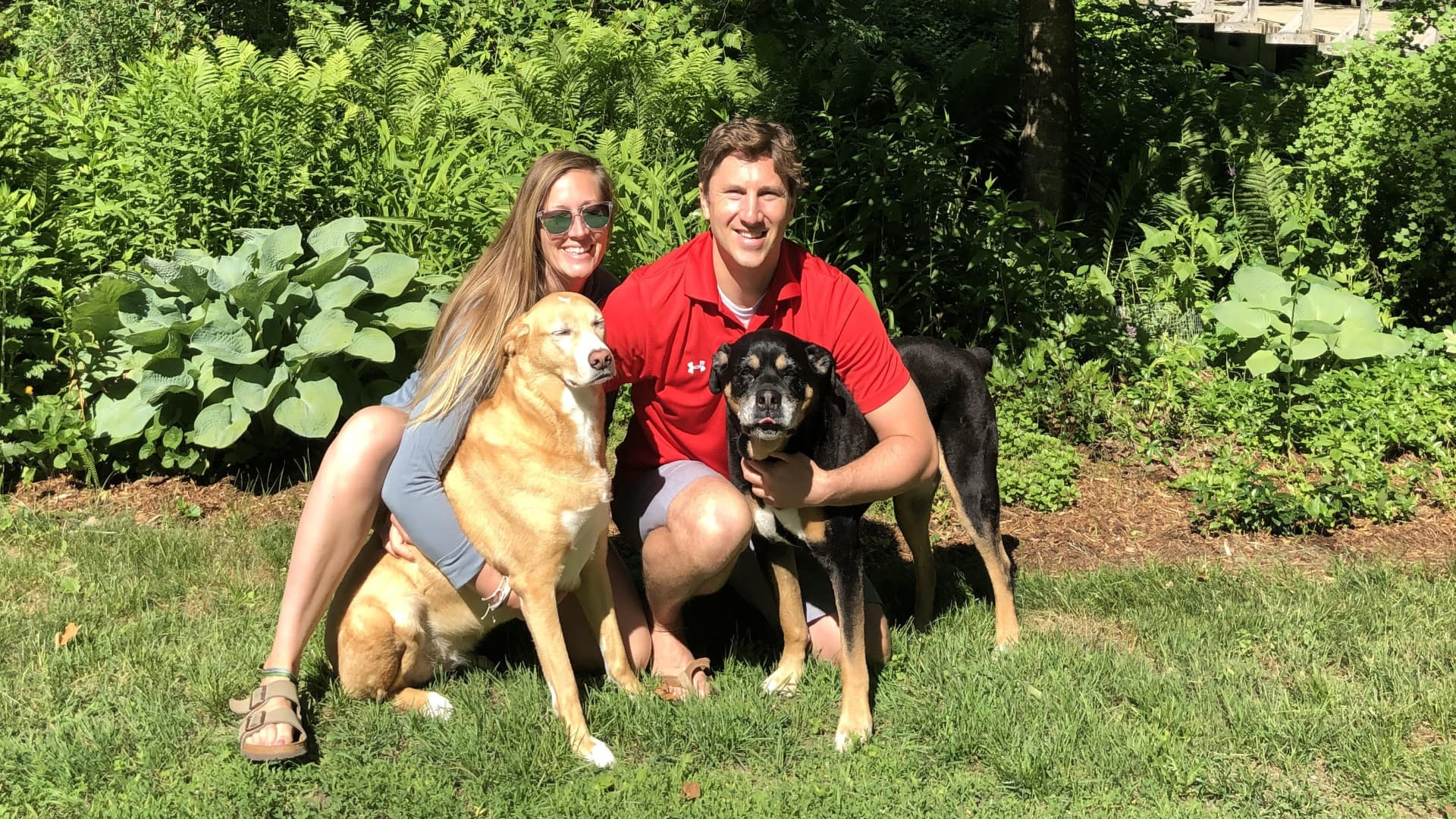 Lee Ruark with his wife, Val, and two dogs.