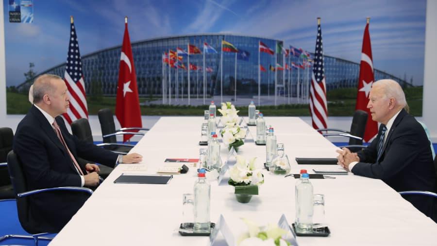 Turkish President Recep Tayyip Erdogan (L) and US President Joe Biden (R) hold a meeting at the NATO summit at the North Atlantic Treaty Organization (NATO) headquarters in Brussels, on June 14, 2021.