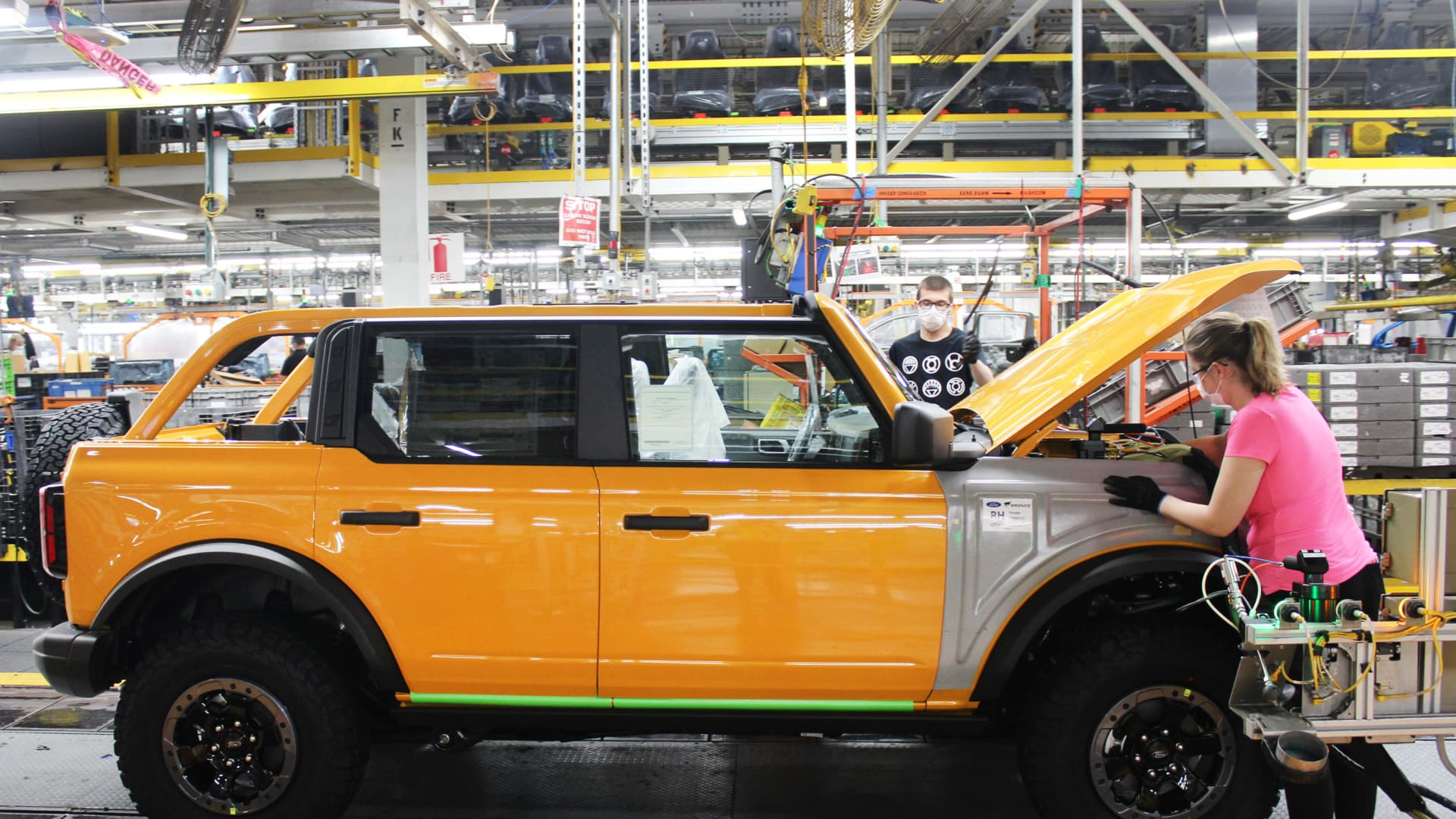 Bronco SUVs in production at Ford's Michigan Assembly plant, June 14, 2021.