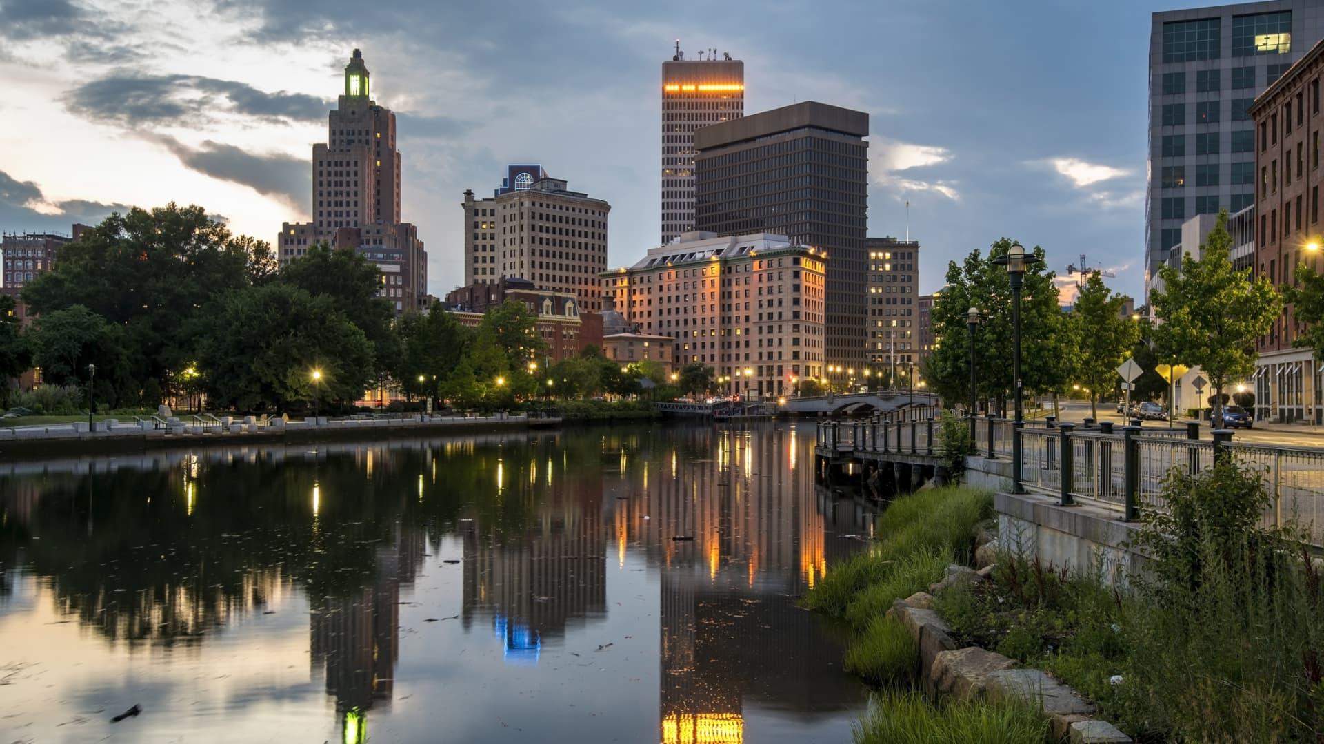 Providence Skyline at night, Rhode Island