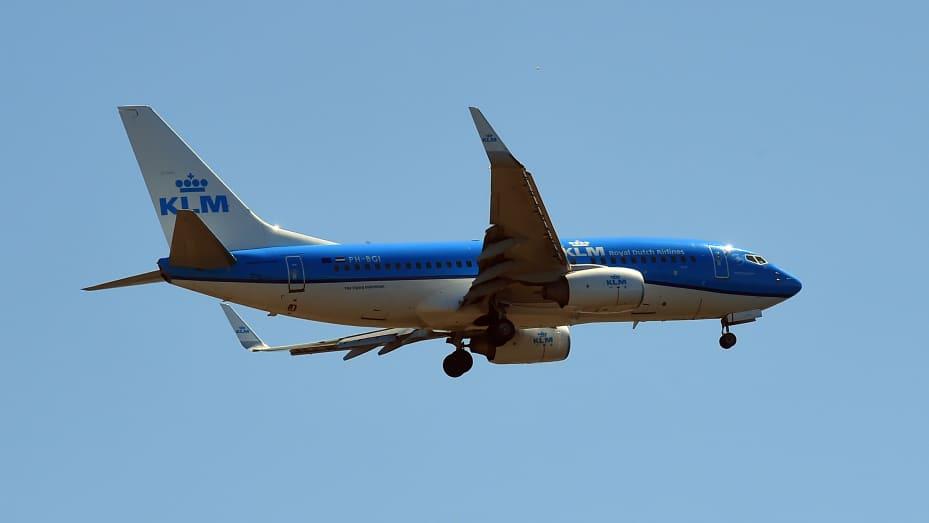Boeing 737 KLM airline. Aircraft landing at Leonardo da Vinci International Airport in Fiumicino, Italy on April 24, 2021.