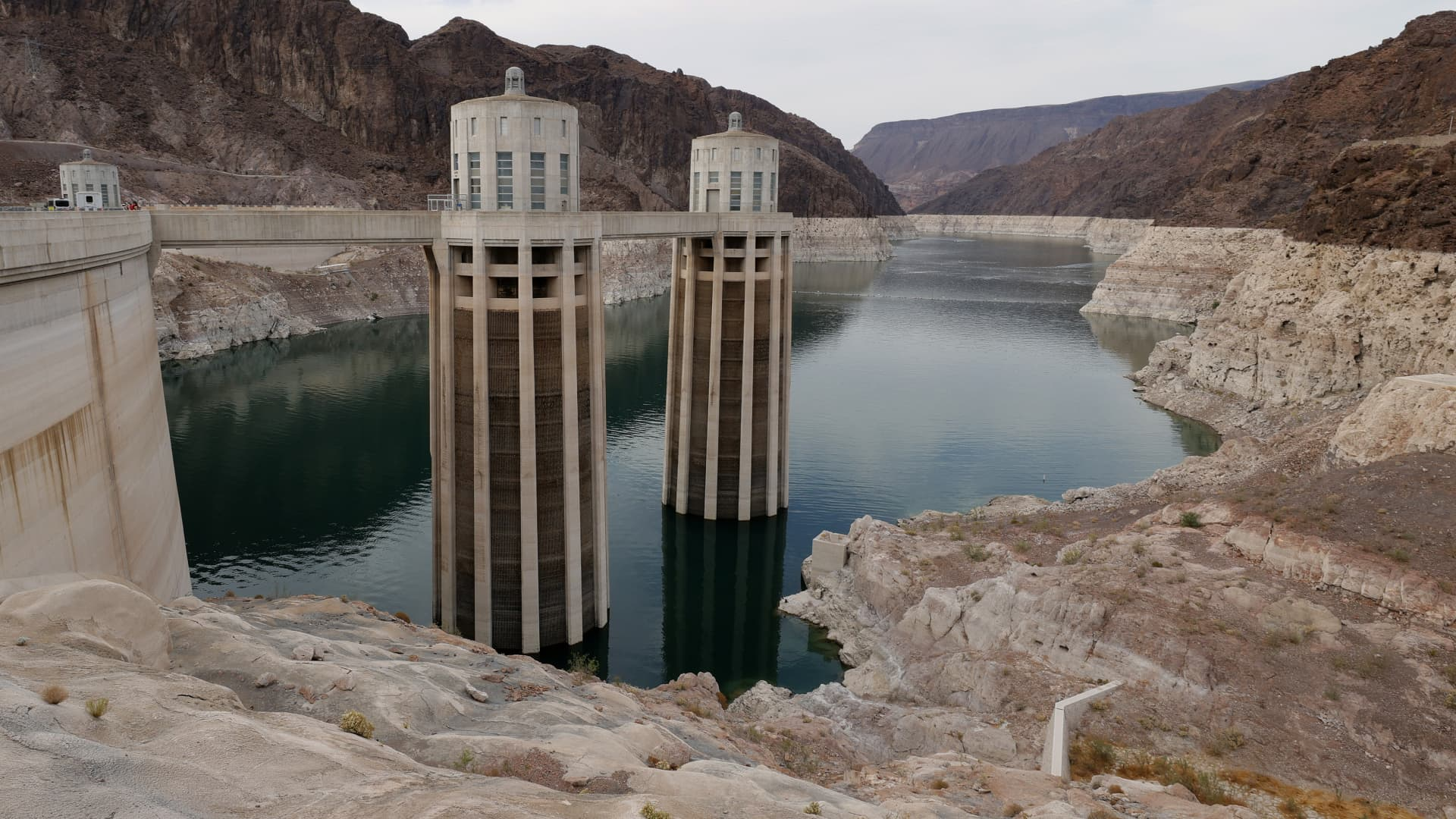 The two Arizona Intake Towers are shown at the Hoover Dam on June 15, 2021 in the Lake Mead National Recreation Area, Arizona.