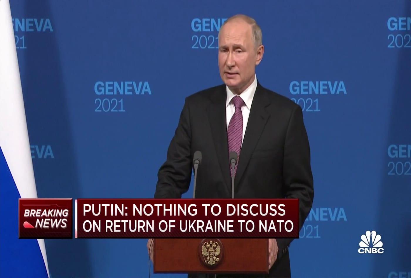 Vladimir Putin delivers remarks after meeting with President Biden