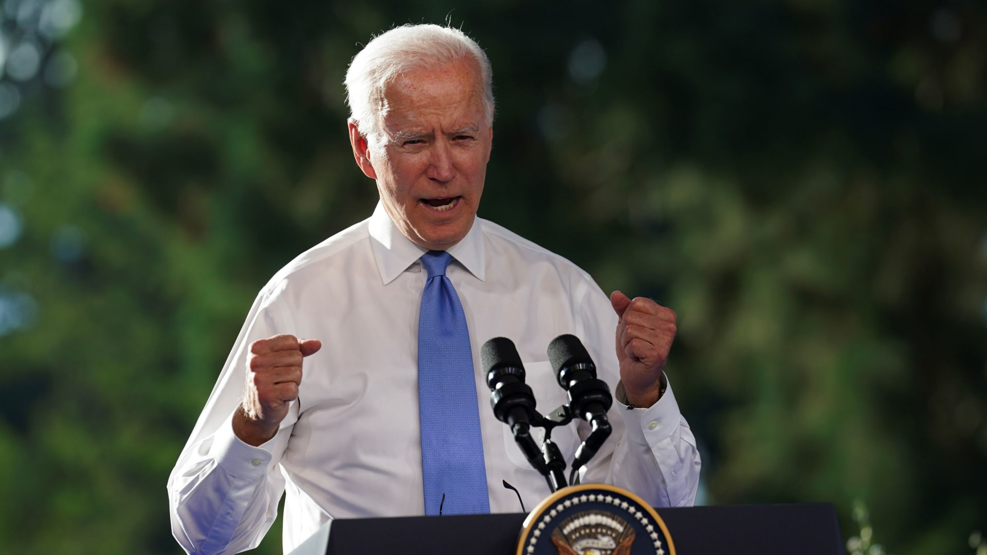 U.S. President Joe Biden gestures as he holds a news conference after the U.S.-Russia summit with Russia's President Vladimir Putin, in Geneva, Switzerland, June 16, 2021.