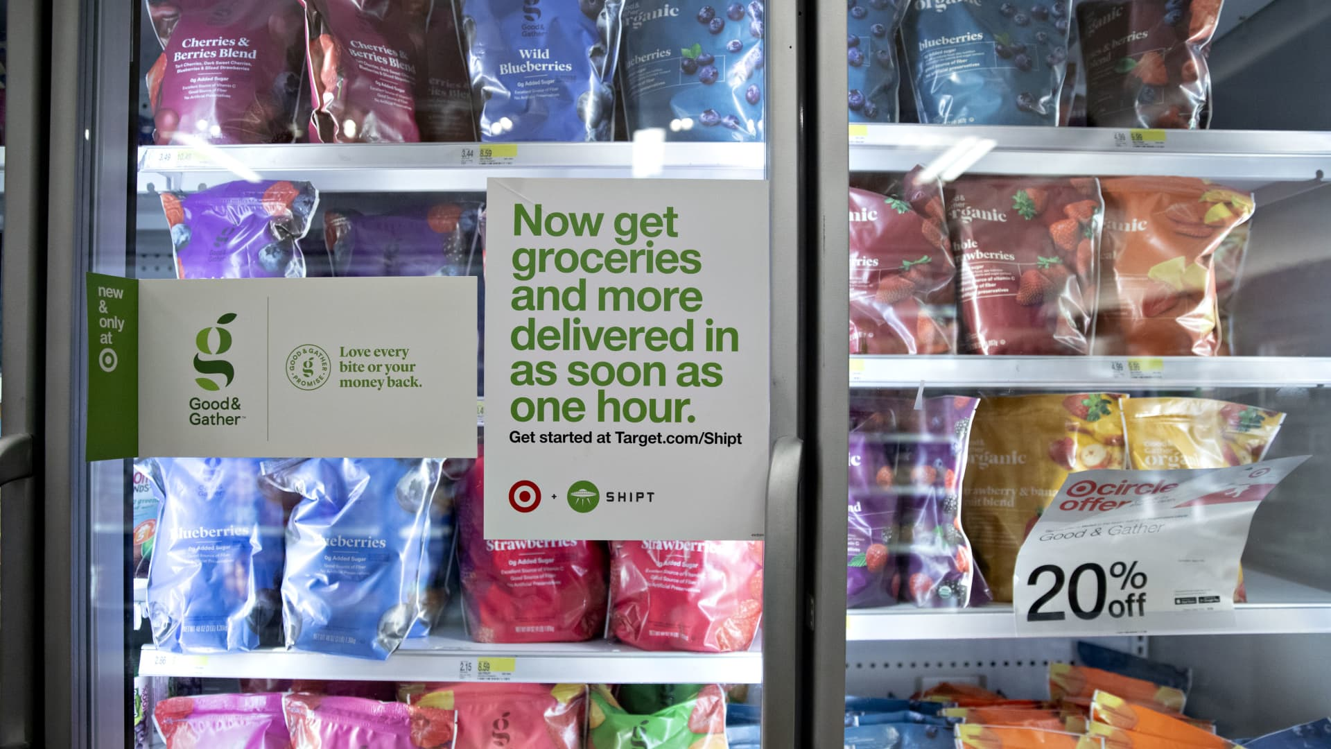 A sign advertising Shipt, the same-day grocery delivery service owned by Target, is displayed on a frozen food display case at a Target Corp. store in Chicago, Illinois, U.S., on Saturday, Nov. 16, 2019.
